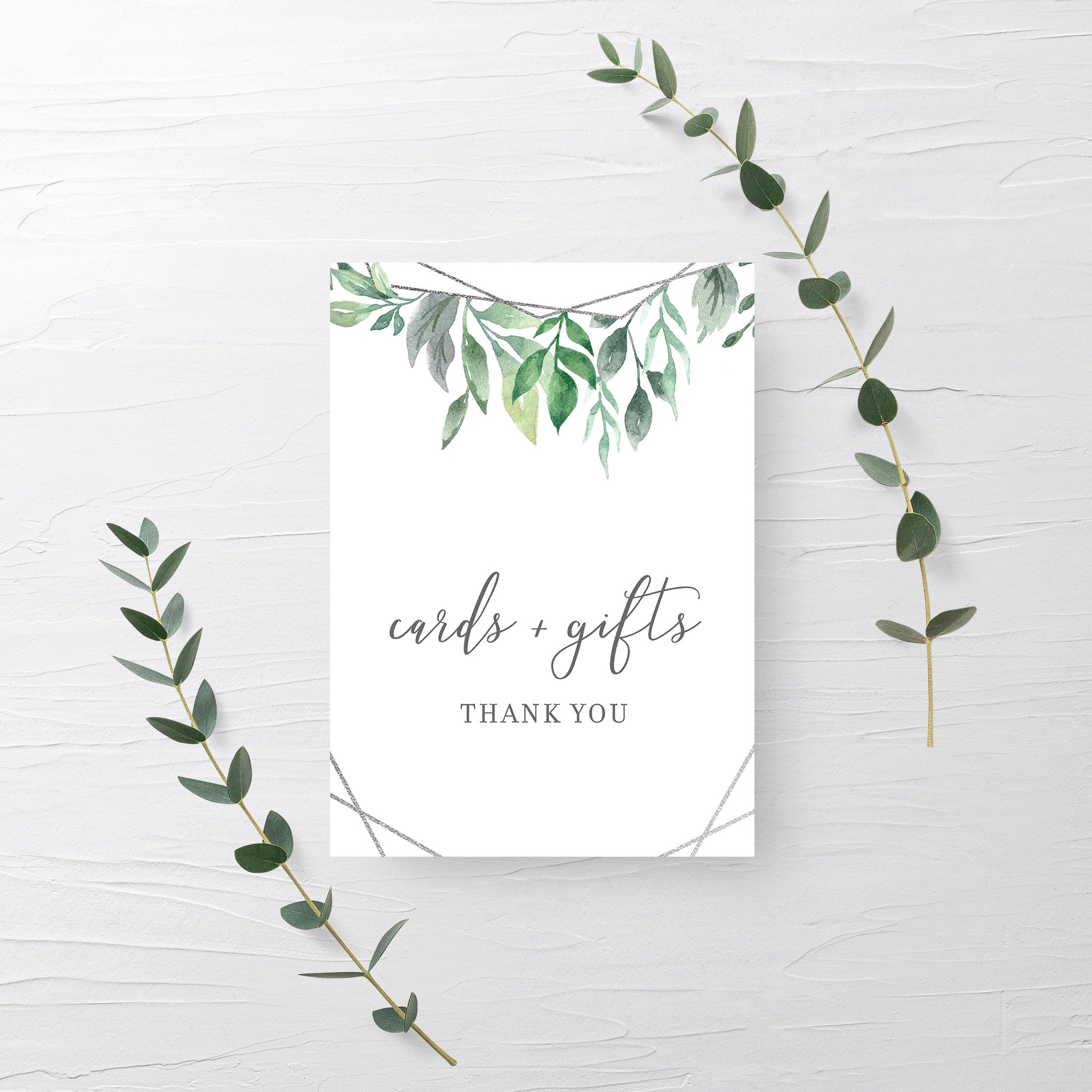 Geometric Silver Greenery Cards and Gifts Printable Sign INSTANT DOWNLOAD, Bridal Shower, Baby Shower, Wedding Decorations Supplies - GFS100 - @PlumPolkaDot