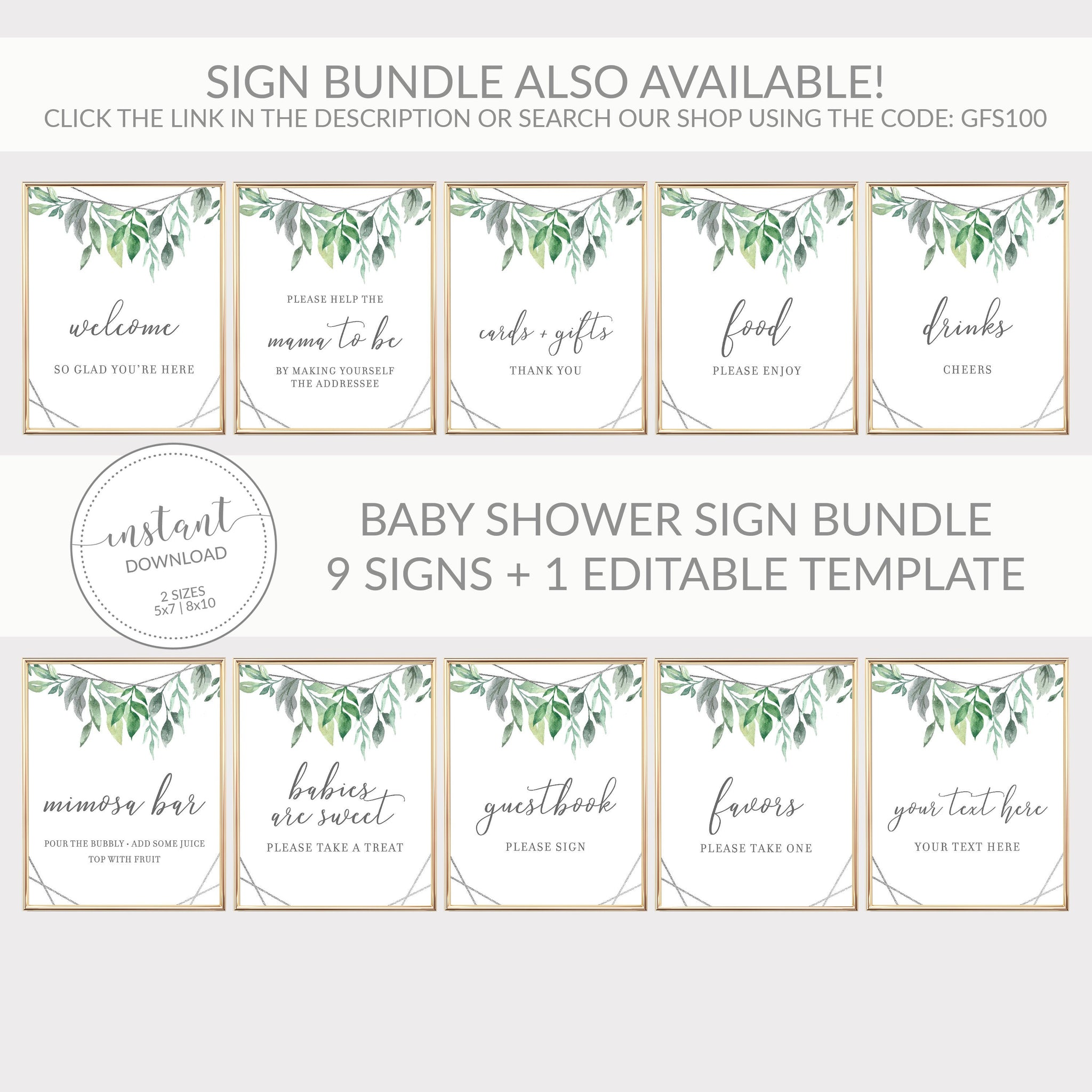 Geometric Silver Greenery Printable Favors Sign INSTANT DOWNLOAD, Birthday, Bridal Shower, Baby Shower, Wedding Decorations - GFS100