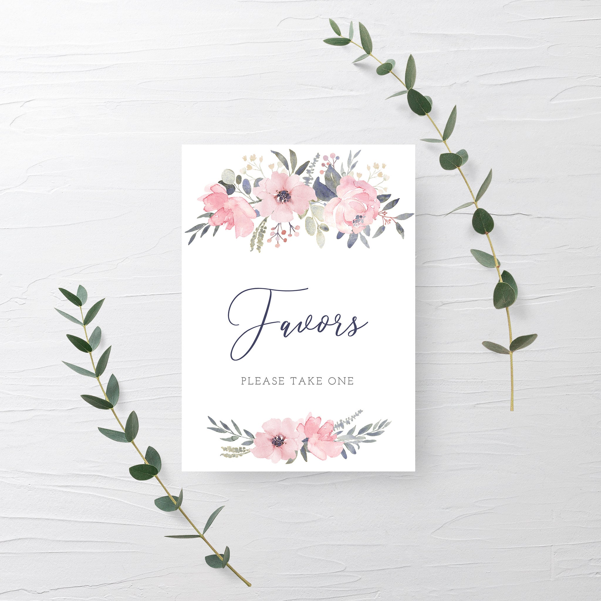 Navy and Blush Floral Favors Sign Printable INSTANT DOWNLOAD, Birthday, Bridal Shower, Baby Shower, Wedding Decorations and Supplies - NB100 - @PlumPolkaDot