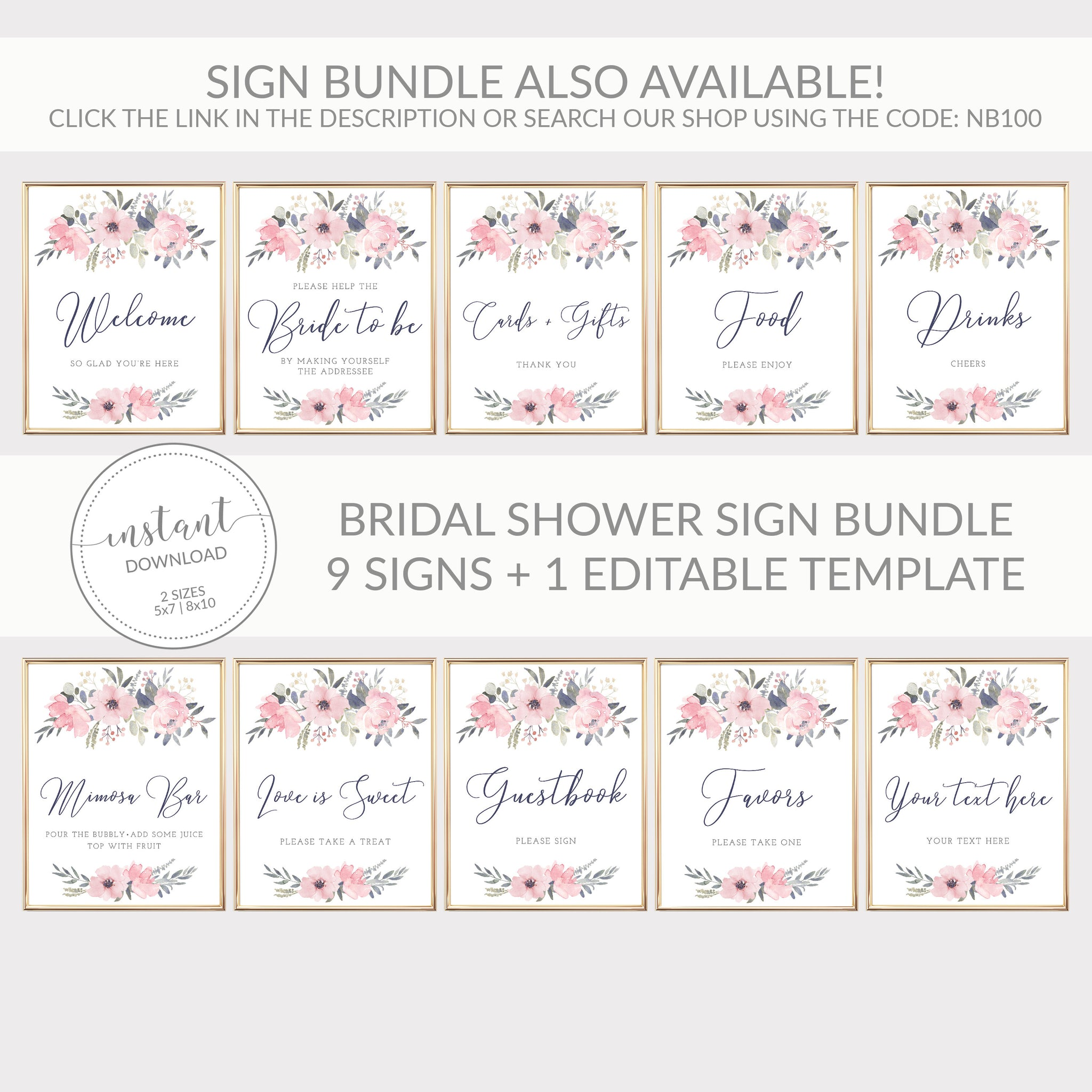 Navy and Blush Floral Printable Bridal Shower Address an Envelope Sign, INSTANT DOWNLOAD, Floral Bridal Shower Decorations Supplies - NB100 - @PlumPolkaDot