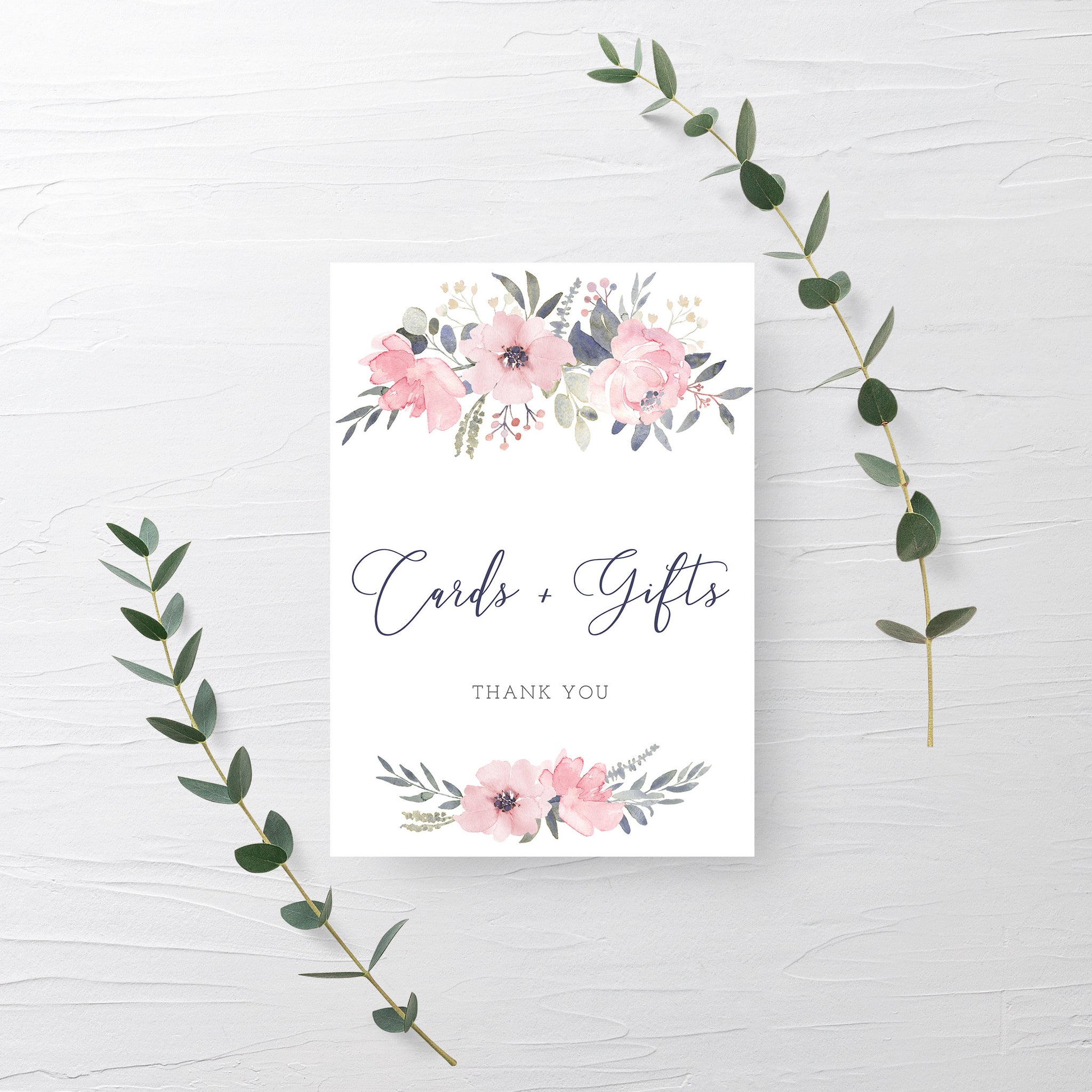 Navy and Blush Floral Cards and Gifts Printable Sign INSTANT DOWNLOAD, Bridal Shower, Baby Shower, Wedding Decorations and Supplies - NB100 - @PlumPolkaDot