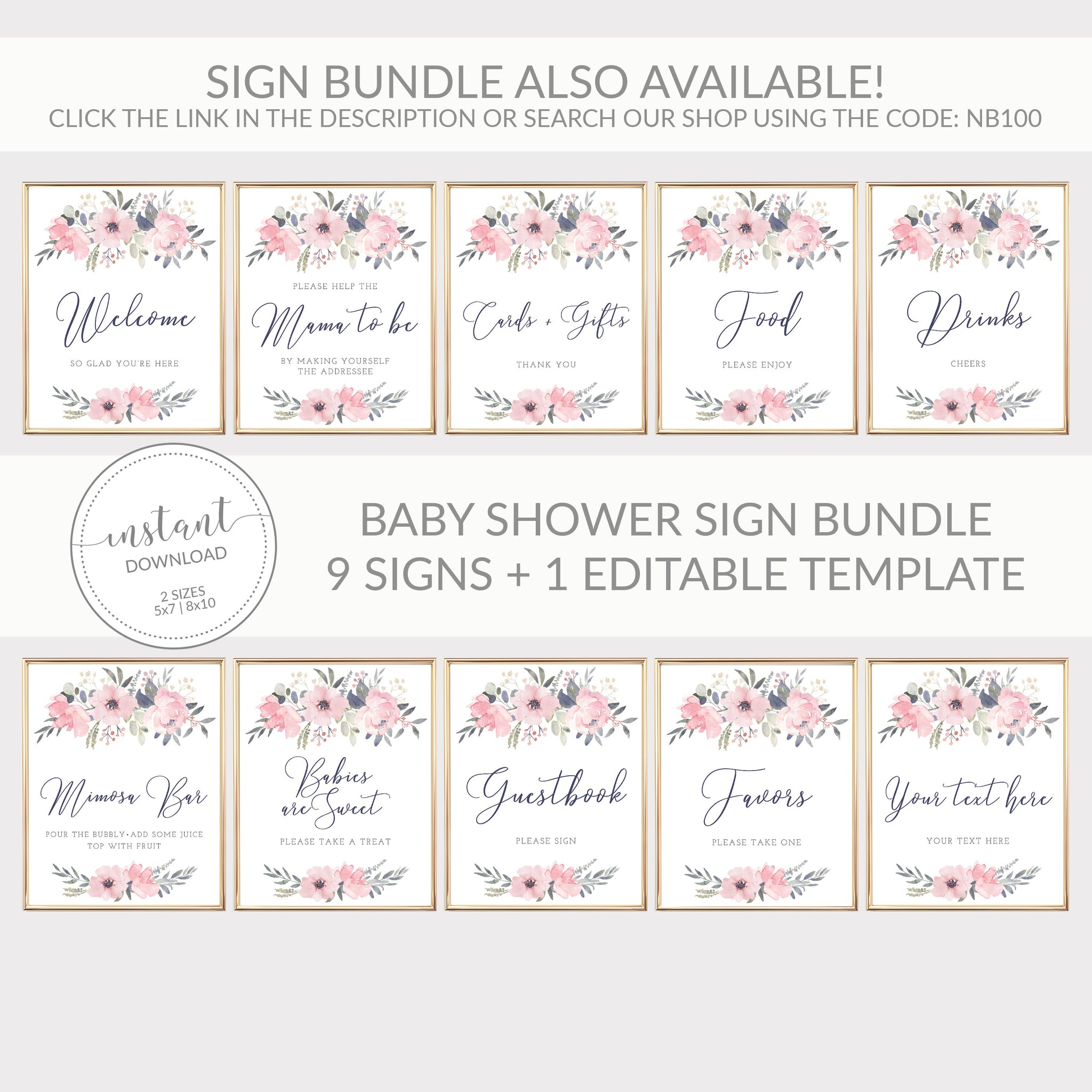 Navy and Blush Floral Printable Baby Shower Treat Sign, INSTANT DOWNLOAD, Dessert Table Floral Baby Shower Decorations and Supplies - NB100