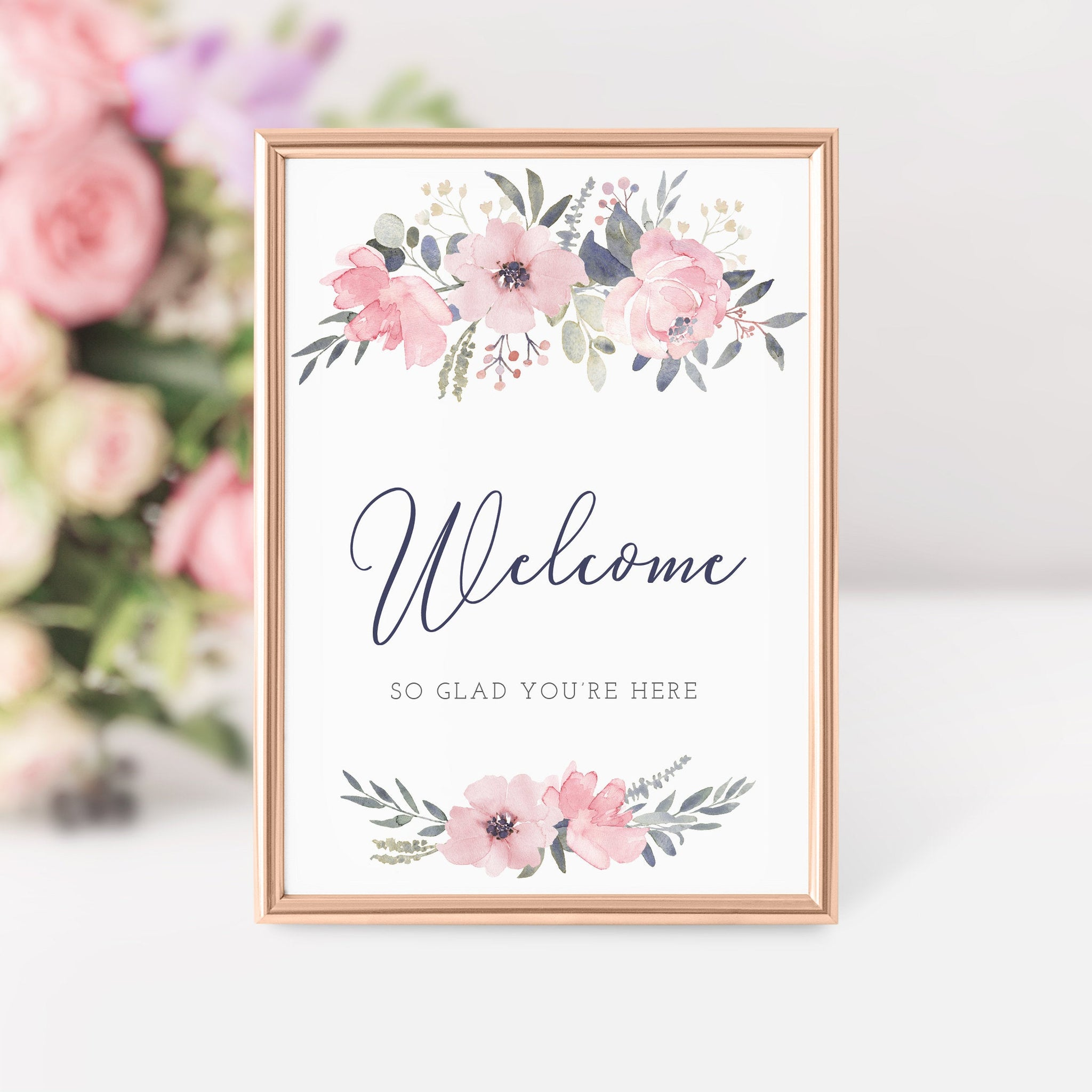 Navy And Blush Floral Printable Welcome Sign INSTANT DOWNLOAD, Birthday, Bridal Shower, Baby Shower, Wedding Decorations Supplies - NB100 - @PlumPolkaDot