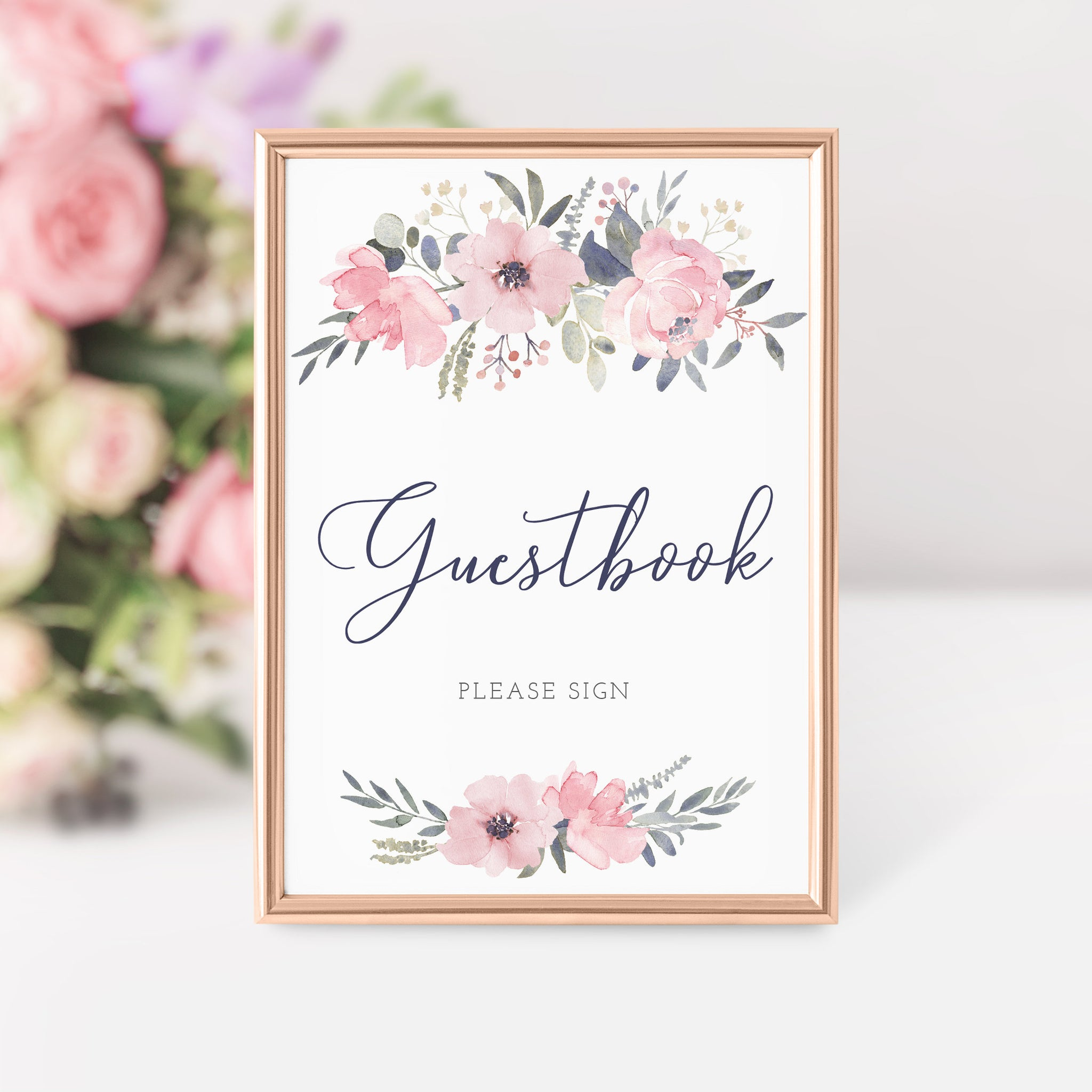 Navy and Blush Floral Printable Guestbook Sign INSTANT DOWNLOAD, Birthday, Bridal Shower, Baby Shower, Wedding Decorations Supplies - NB100 - @PlumPolkaDot