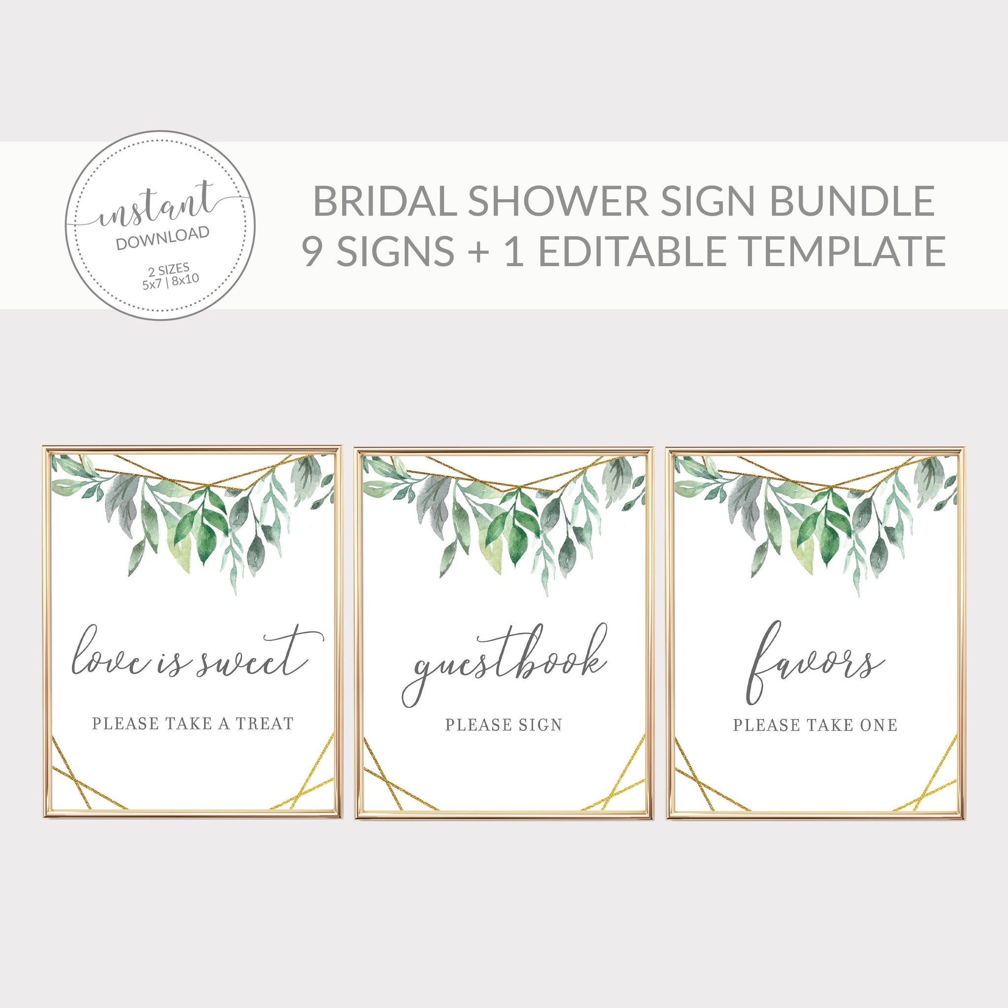 Geometric Gold Greenery Printable Bridal Shower Sign Bundle, INSTANT DOWNLOAD, Editable Bridal Shower Sign, Decorations Supplies - GFG100 - @PlumPolkaDot