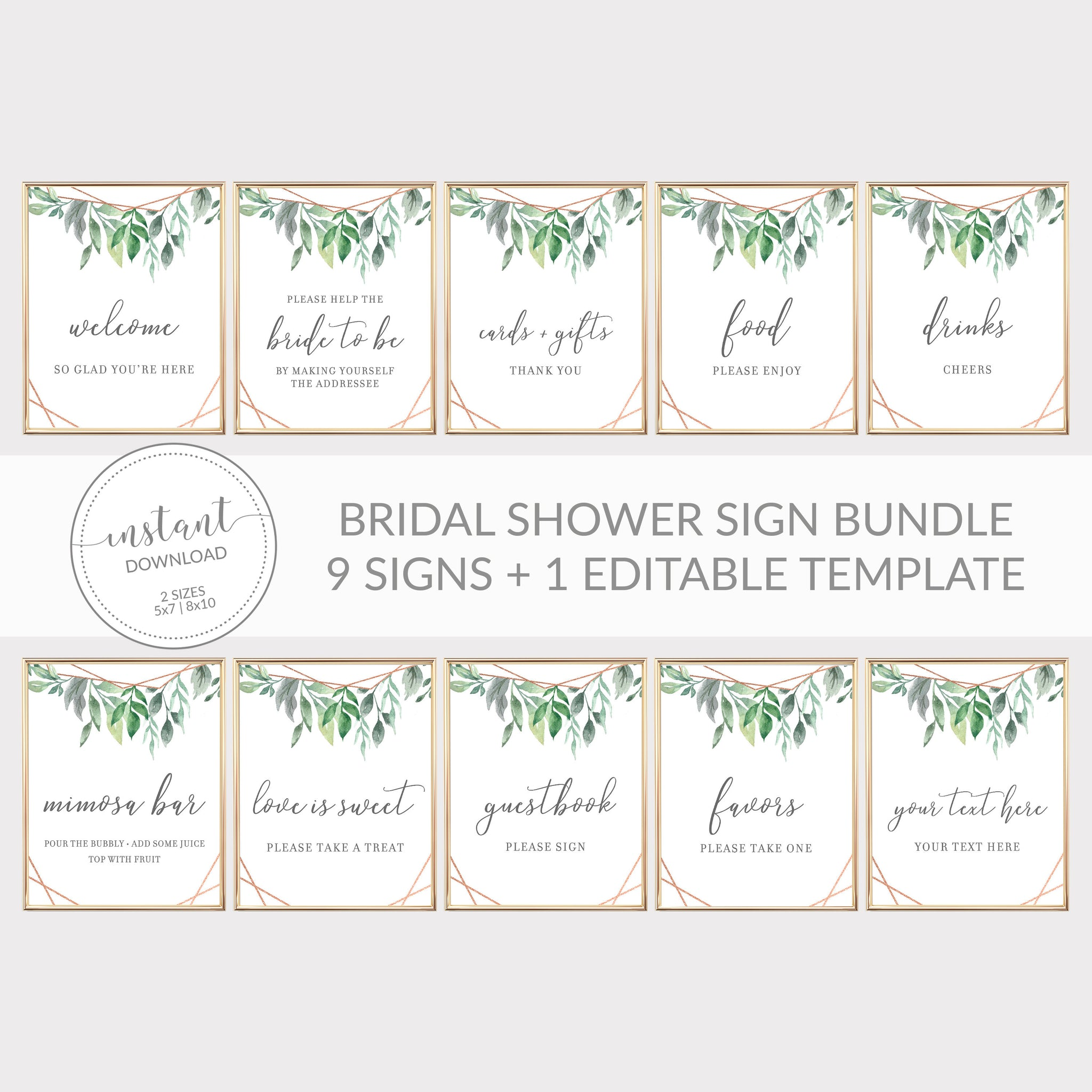 Geometric Rose Gold Greenery Printable Bridal Shower Sign Bundle, INSTANT DOWNLOAD, Editable Bridal Shower Sign, Decorations - GFRG100 - @PlumPolkaDot
