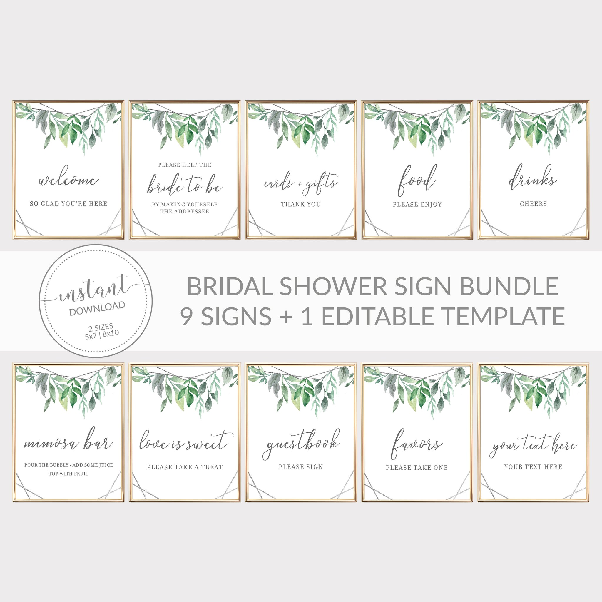 Geometric Silver Greenery Printable Bridal Shower Sign Bundle, INSTANT DOWNLOAD, Editable Bridal Shower Sign, Decorations Supplies - GFS100 - @PlumPolkaDot