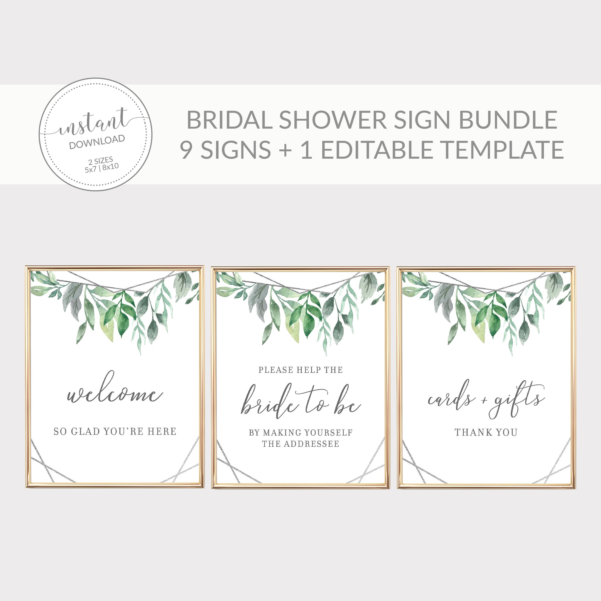 Geometric Silver Greenery Printable Bridal Shower Sign Bundle, INSTANT DOWNLOAD, Editable Bridal Shower Sign, Decorations Supplies - GFS100
