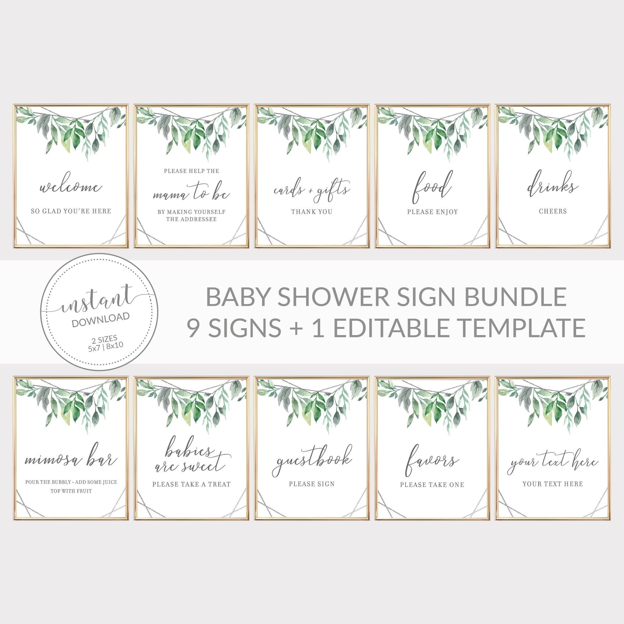 Geometric Silver Greenery Printable Baby Shower Sign Bundle, INSTANT DOWNLOAD, Editable Baby Shower Sign, Sip and See Decorations - GFS100