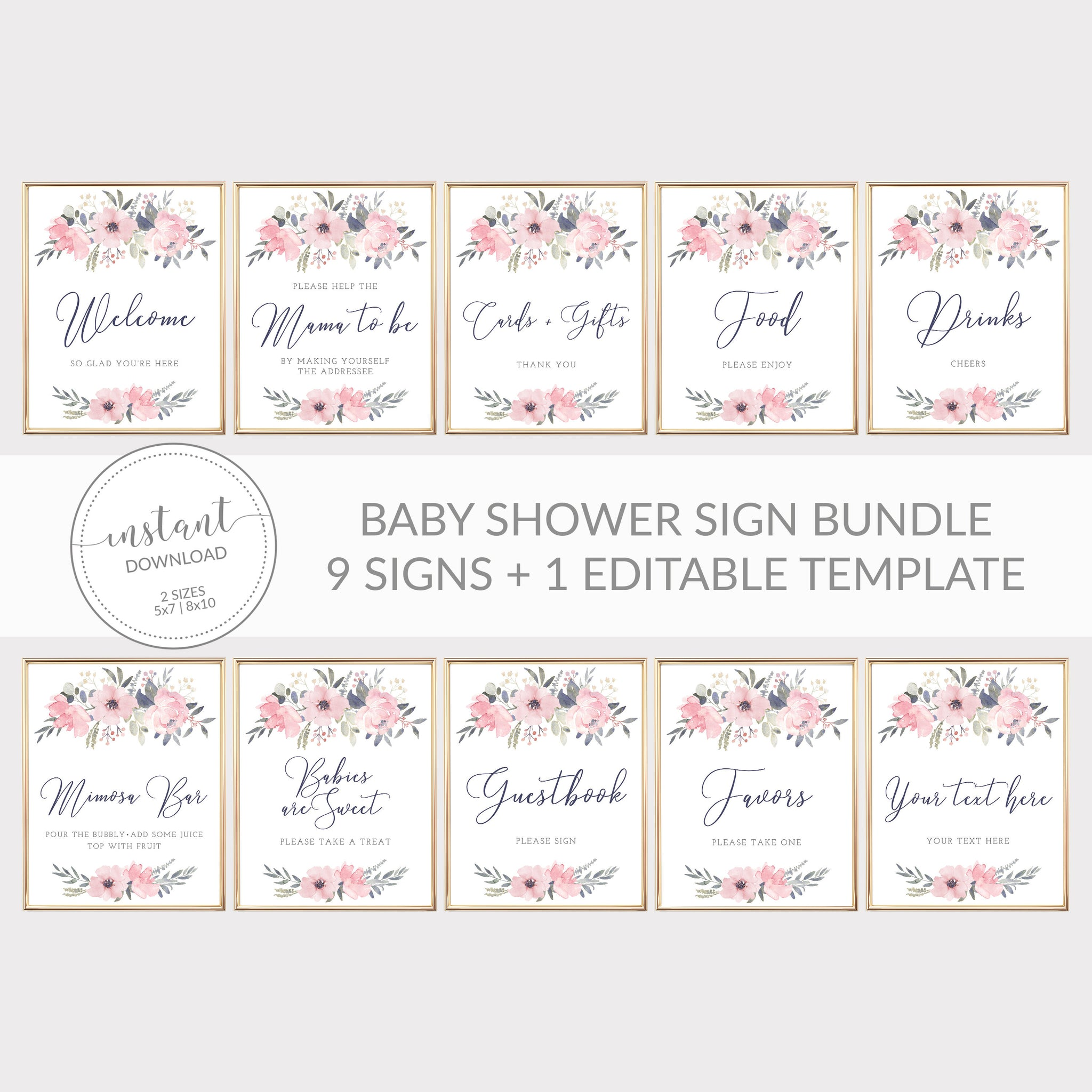Navy and Blush Floral Printable Baby Shower Sign Bundle, INSTANT DOWNLOAD, Editable Baby Shower Sign, Sip and See Decorations - NB100
