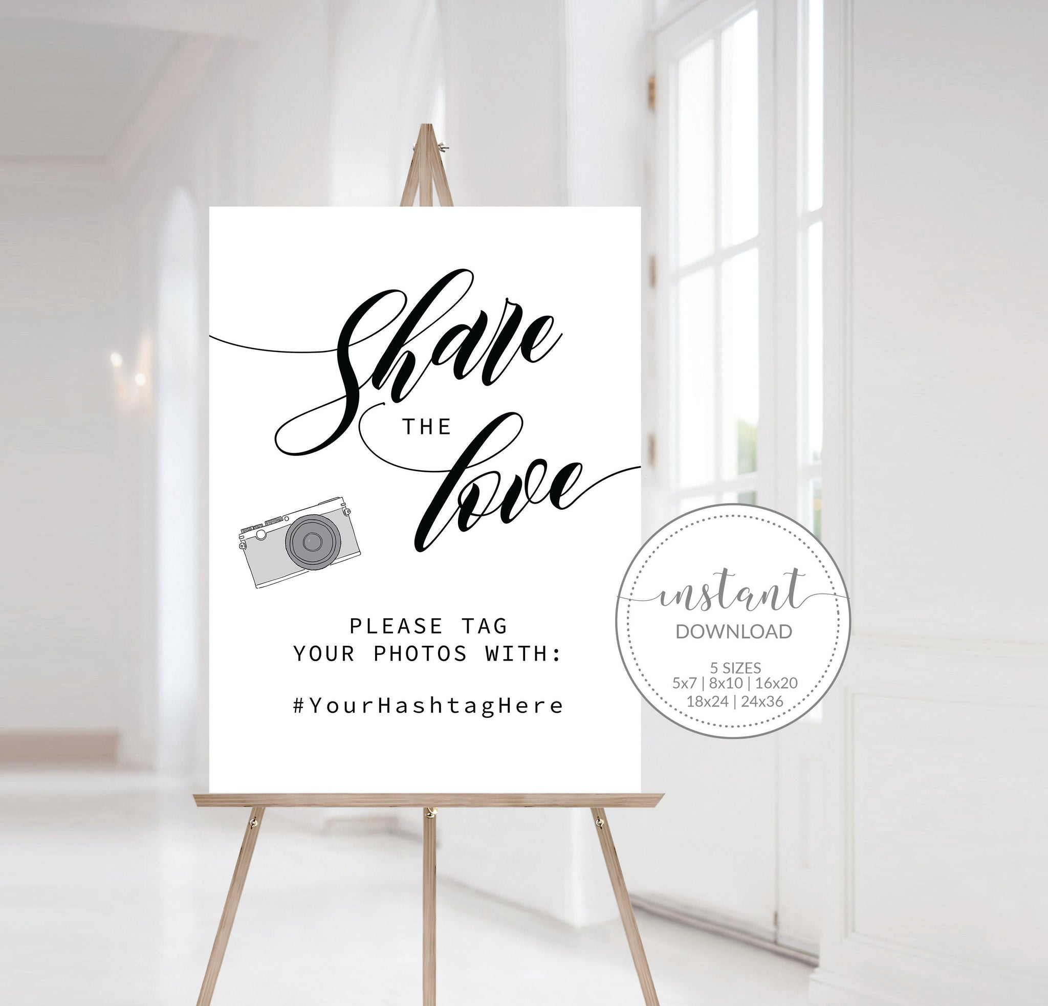Wedding Hashtag Sign Template, Wedding Hashtag Printable, Share The Love Template, Wedding Hashtag Sign DIGITAL DOWNLOAD - SFB100 - @PlumPolkaDot