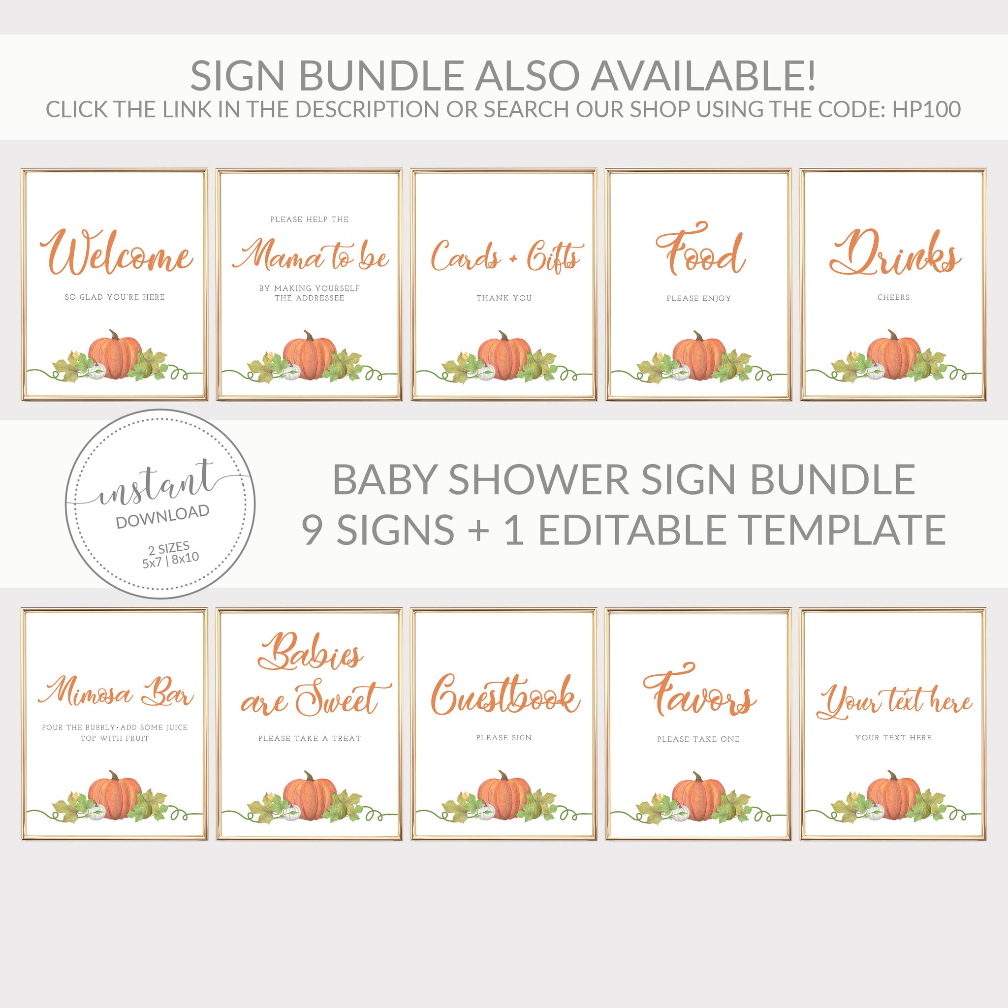 Pumpkin Baby Shower Drinks Sign Printable INSTANT DOWNLOAD, Pumpkin Birthday Party Sign, Pumpkin Baby Shower Decorations Supplies - HP100 - @PlumPolkaDot