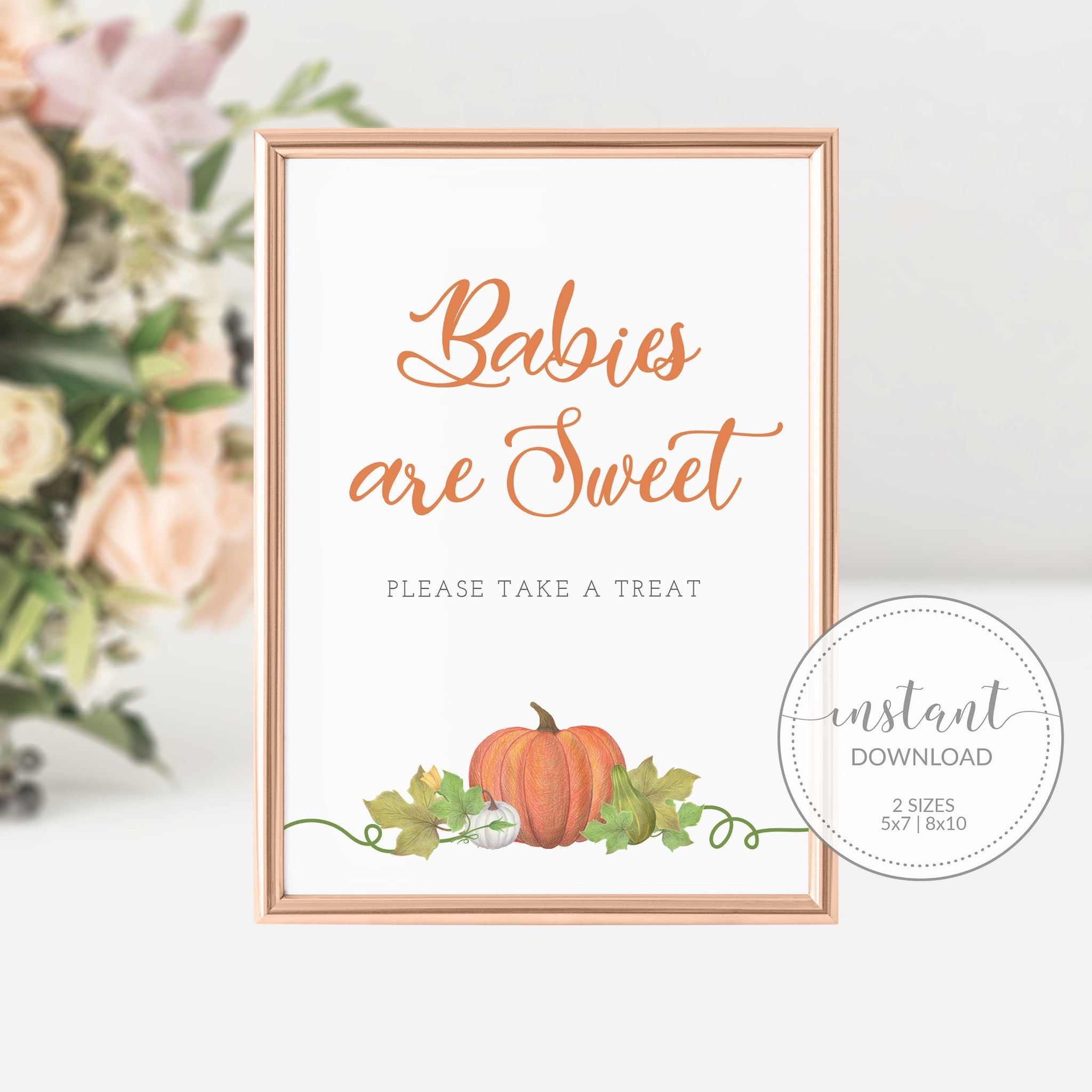 Little Pumpkin Baby Shower Decorations, Babies are Sweet Printable Treat Sign, Pumpkin Baby Shower Sign, INSTANT DOWNLOAD - HP100 - @PlumPolkaDot