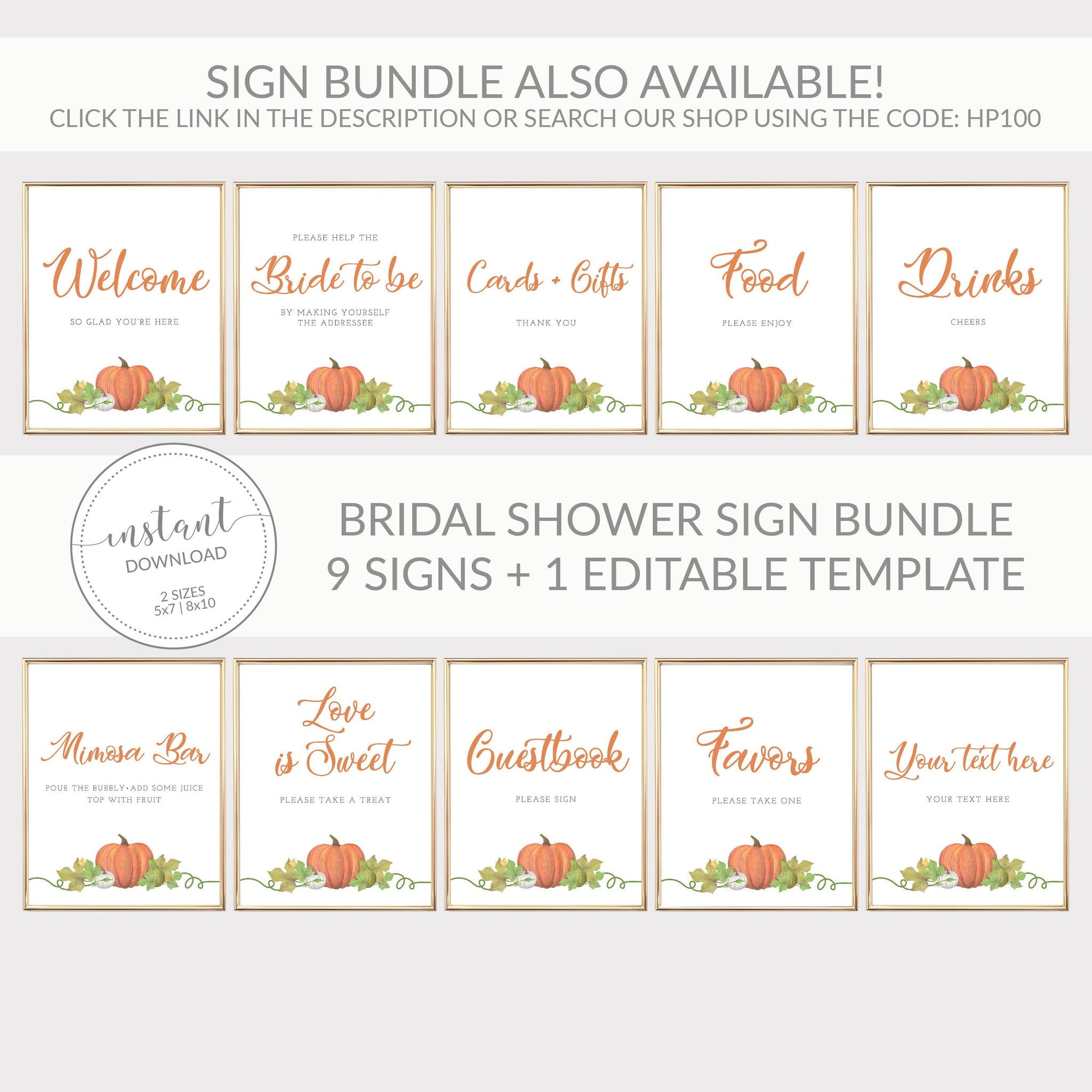 Pumpkin Bridal Shower Love is Sweet Treat Sign INSTANT DOWNLOAD, Bridal Shower Dessert Table Sign, Pumpkin Bridal Shower Decorations - HP100 - @PlumPolkaDot
