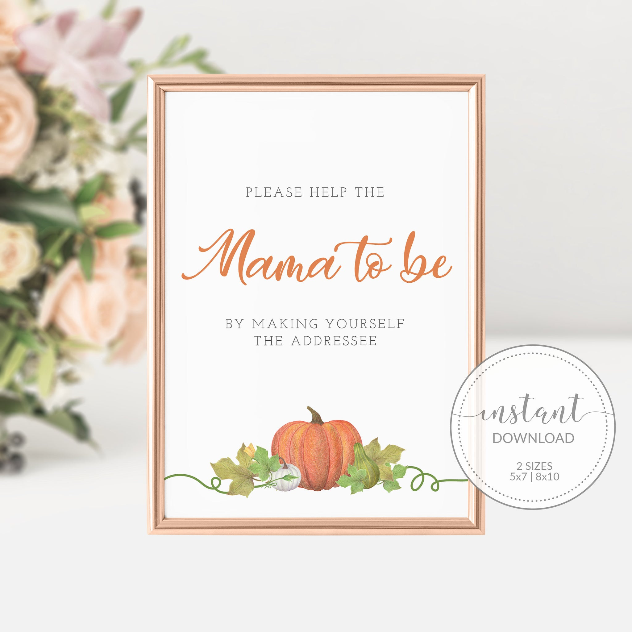 Pumpkin Baby Shower Address an Envelope Sign Printable INSTANT DOWNLOAD, Fall Baby Shower Sign, Pumpkin Baby Shower Decorations - HP100