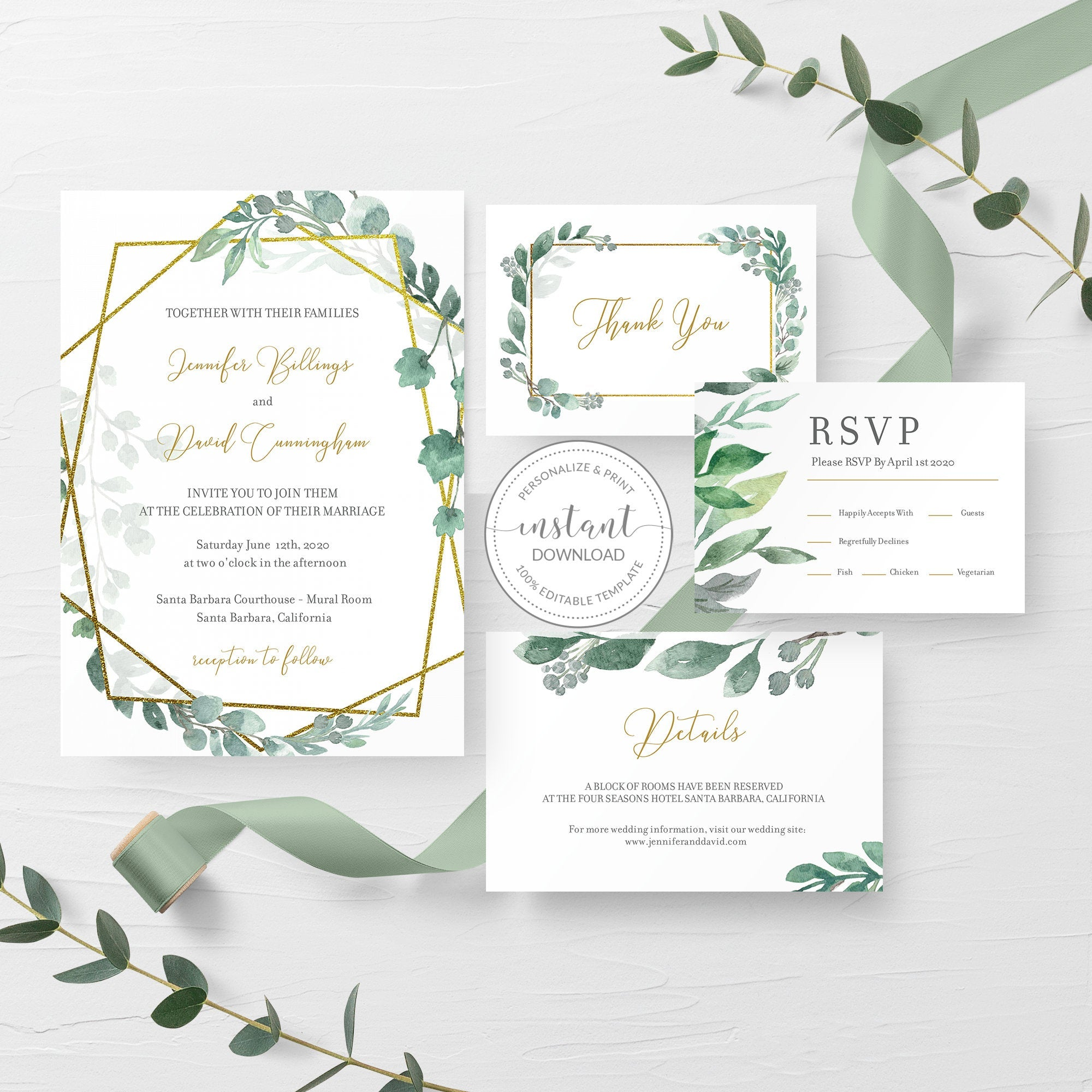 Greenery Wedding Invitation Template, Gold Geometric Wedding Invitation, Editable Wedding Invitation Suite, INSTANT DOWNLOAD - GFG100 - @PlumPolkaDot