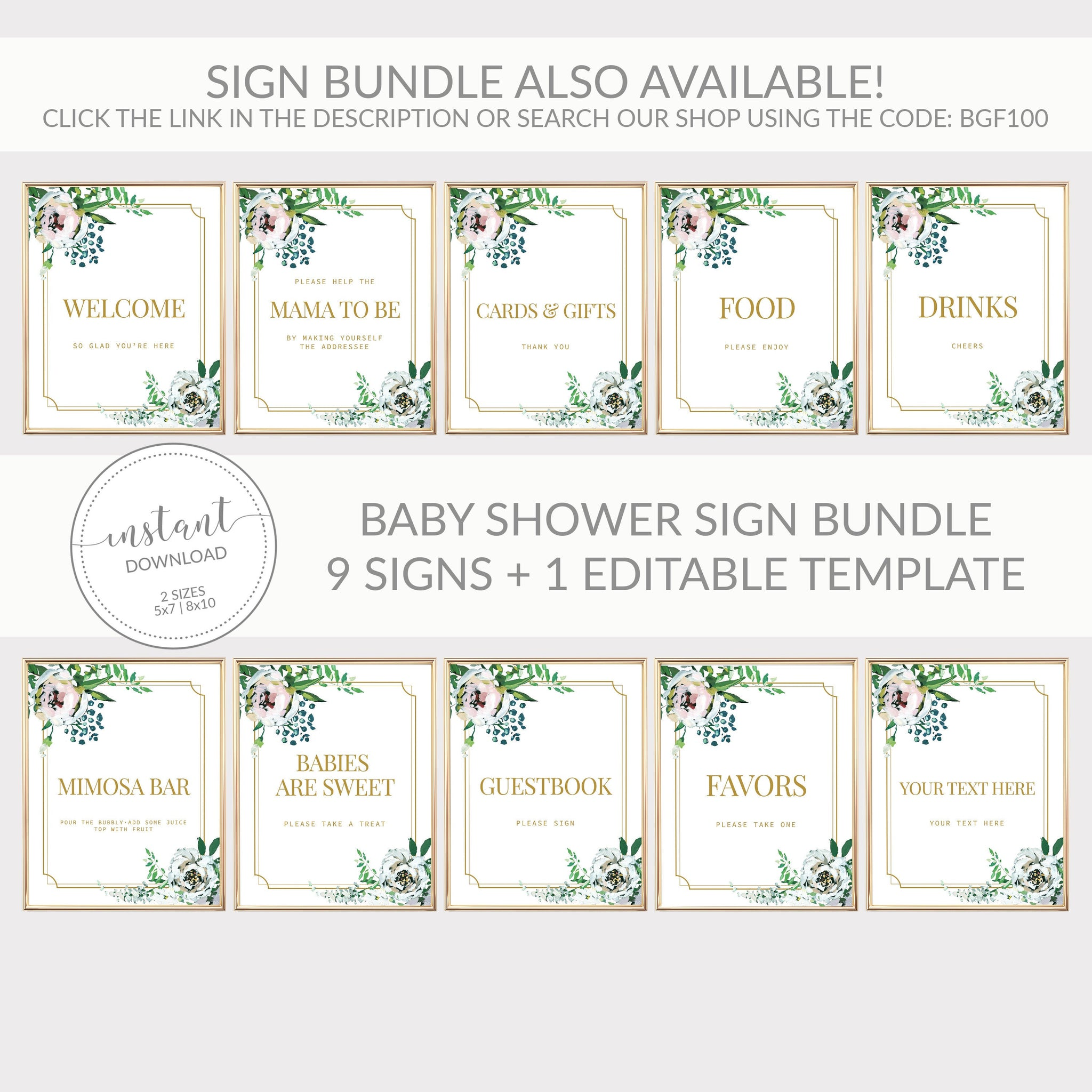Blush Floral Greenery Baby Shower Help the Mom to Be and Be the Addressee Sign Printable INSTANT DOWNLOAD, Baby Shower Addressee - BGF100 - @PlumPolkaDot