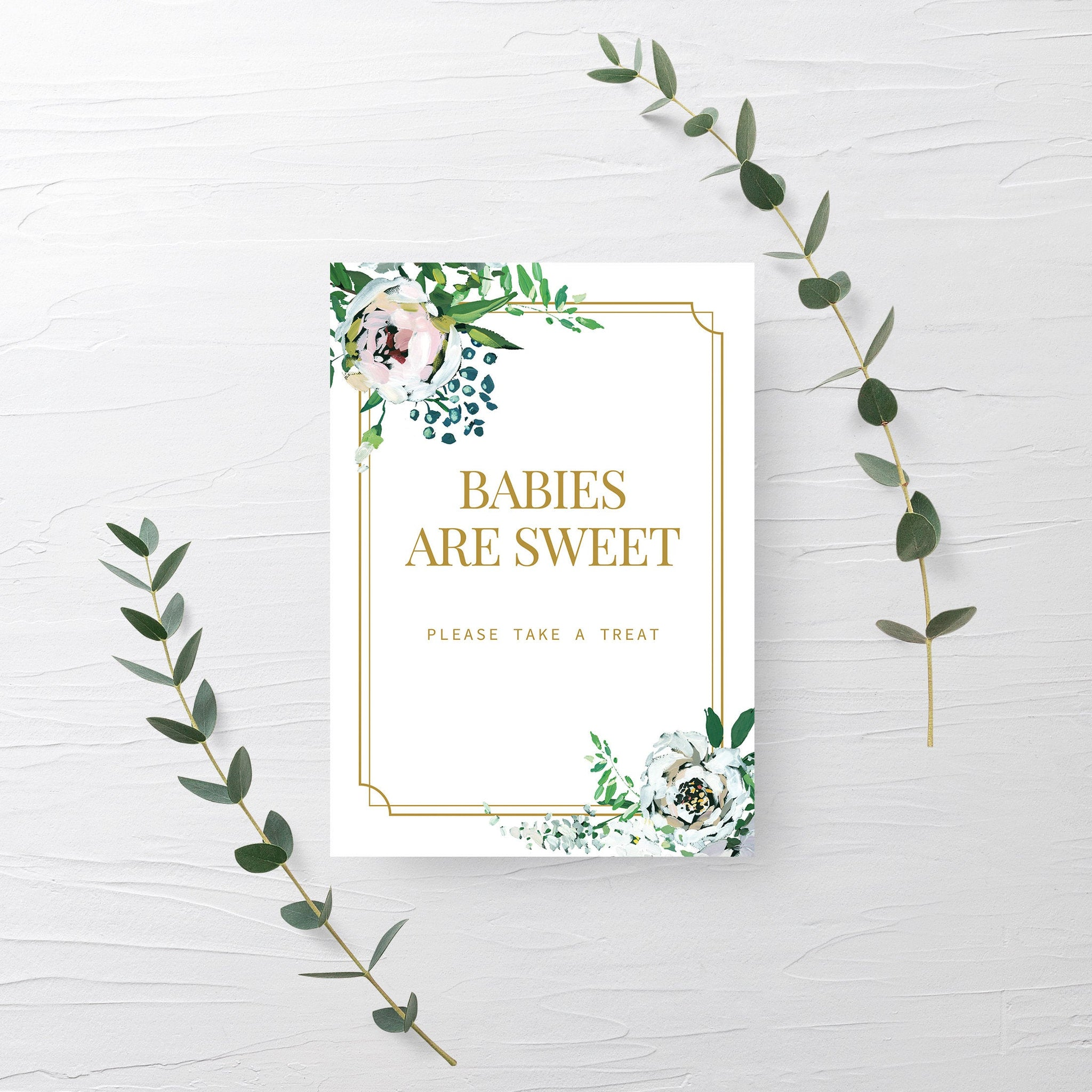 Blush Floral Greenery Babies Are Sweet Treat Sign Printable INSTANT DOWNLOAD, Gold Baby Shower Dessert Table Sign Decorations - BGF100