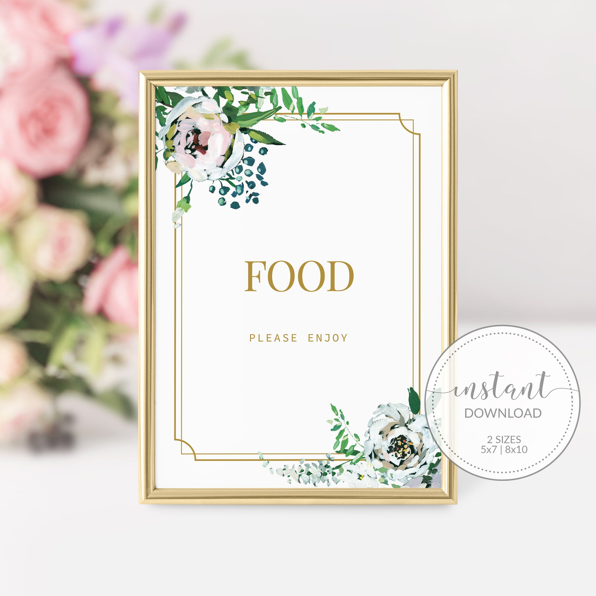 Blush Floral Greenery Food Sign Printable INSTANT DOWNLOAD, Birthday Bridal Shower Baby Shower Decoration, Wedding Food Table Signs - BGF100 - @PlumPolkaDot
