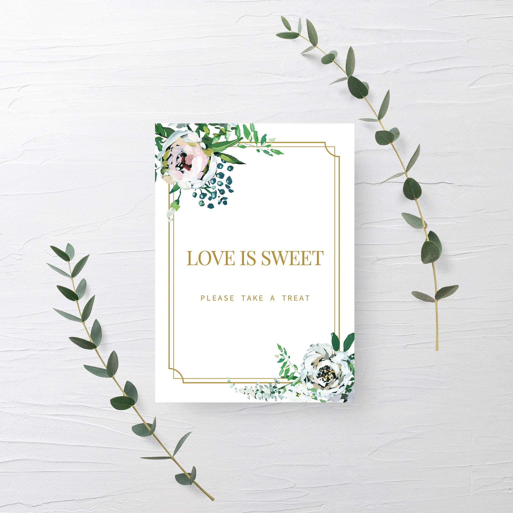 Blush Floral Greenery Love is Sweet Treat Sign Printable INSTANT DOWNLOAD, Gold Bridal Shower Dessert Table Decorations  - BGF100 - @PlumPolkaDot