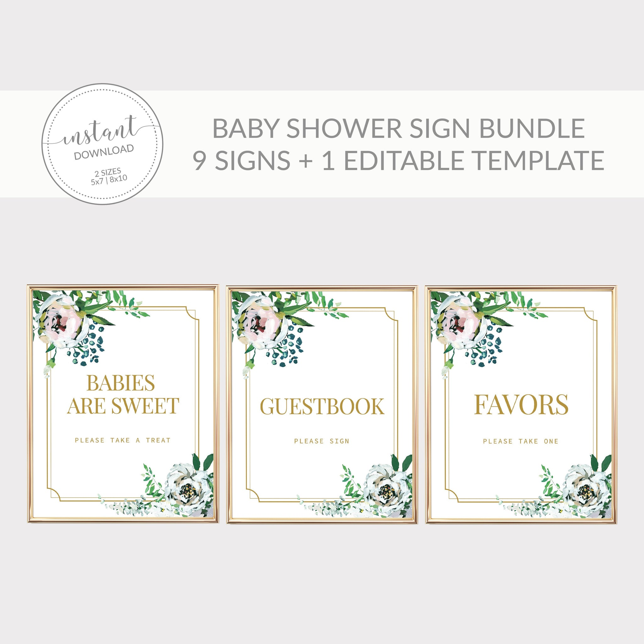 Blush Floral Greenery Printable Baby Shower Sign Bundle, INSTANT DOWNLOAD, Editable Baby Shower Sign Template, Decorations Supplies - BFG100