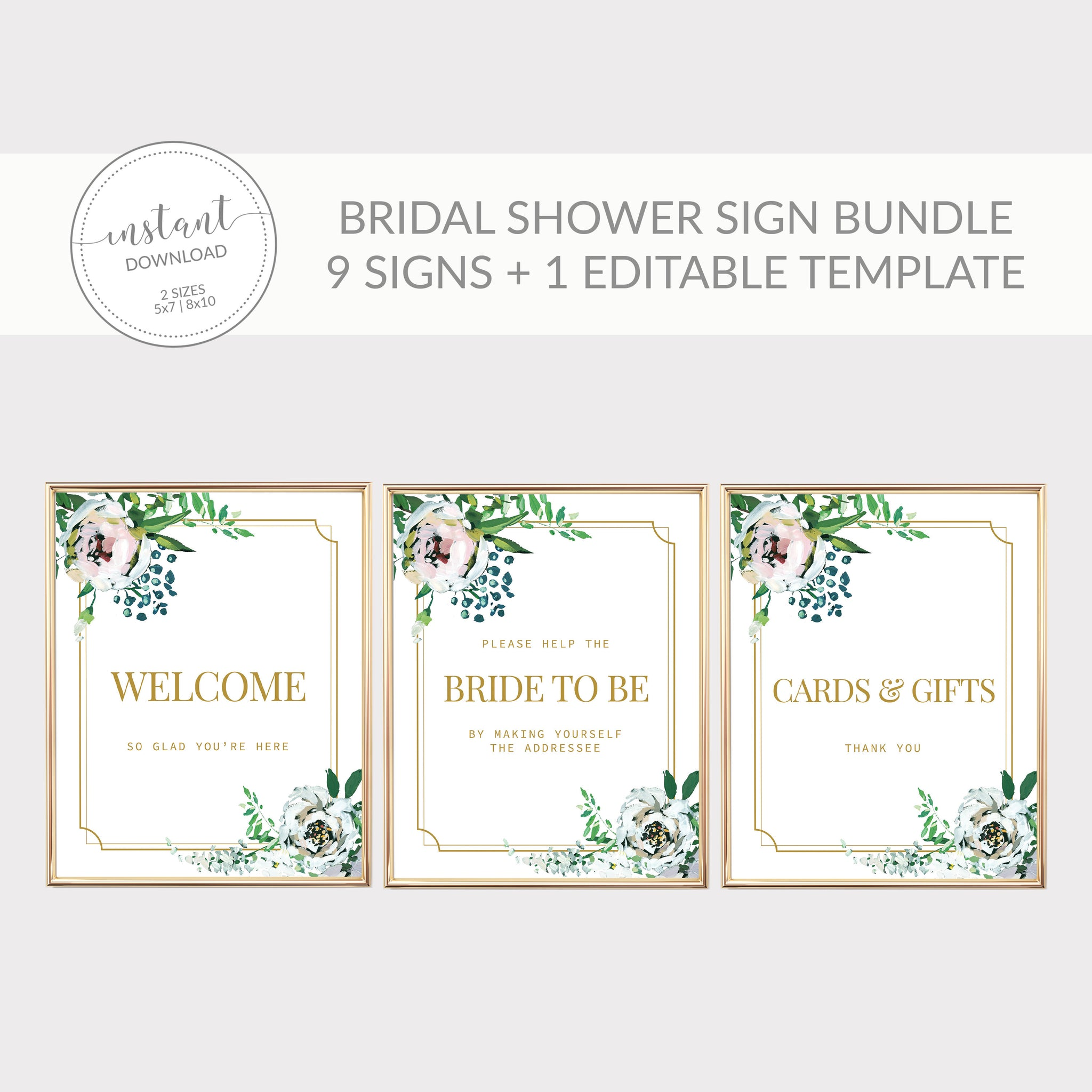 Blush Floral Greenery Printable Bridal Shower Sign Bundle, INSTANT DOWNLOAD, Editable Bridal Shower Sign Template, Decorations - BFG100 - @PlumPolkaDot