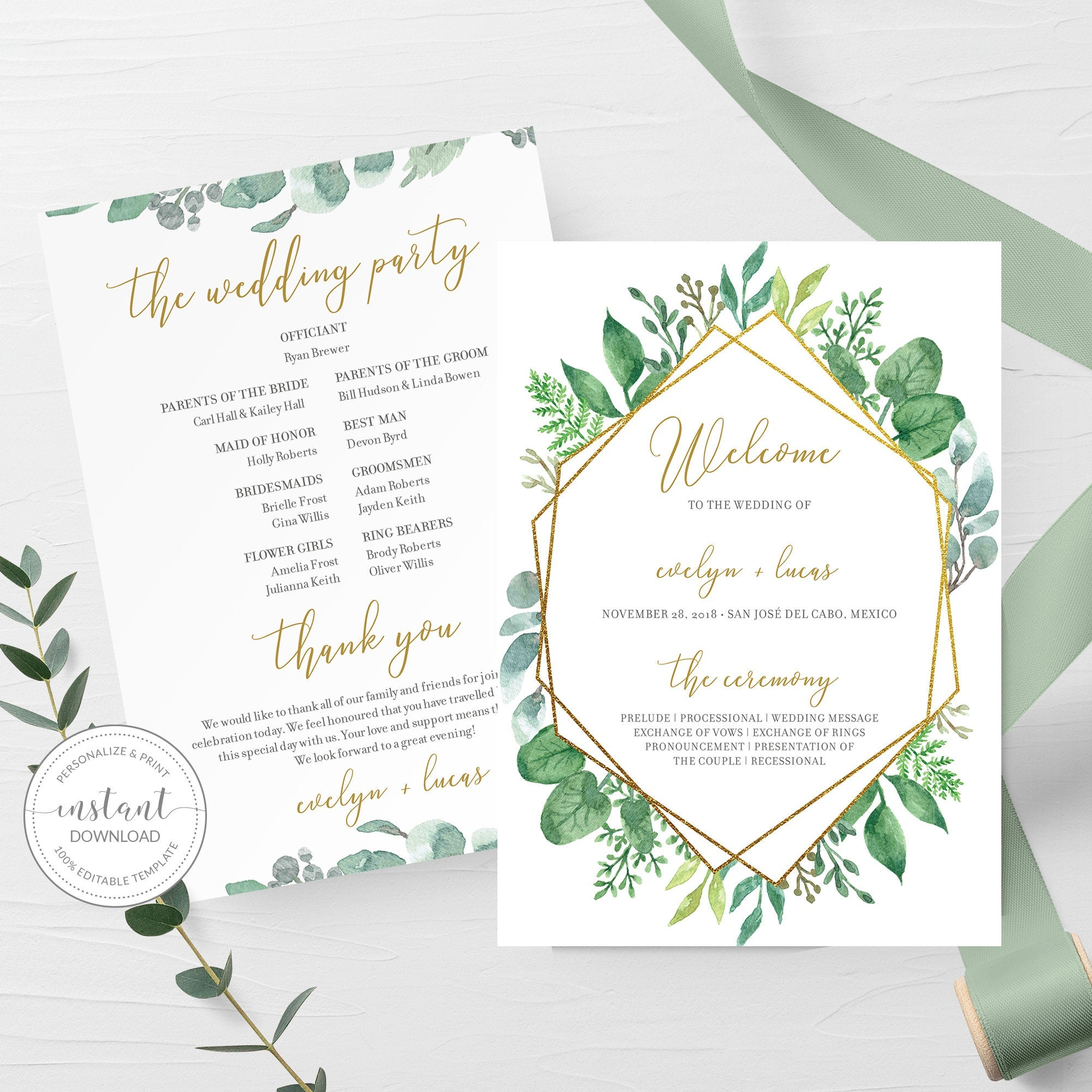 Geometric Gold Greenery Wedding Program Template, Printable Wedding  Ceremony Programs, Editable INSTANT DOWNLOAD - GFG10