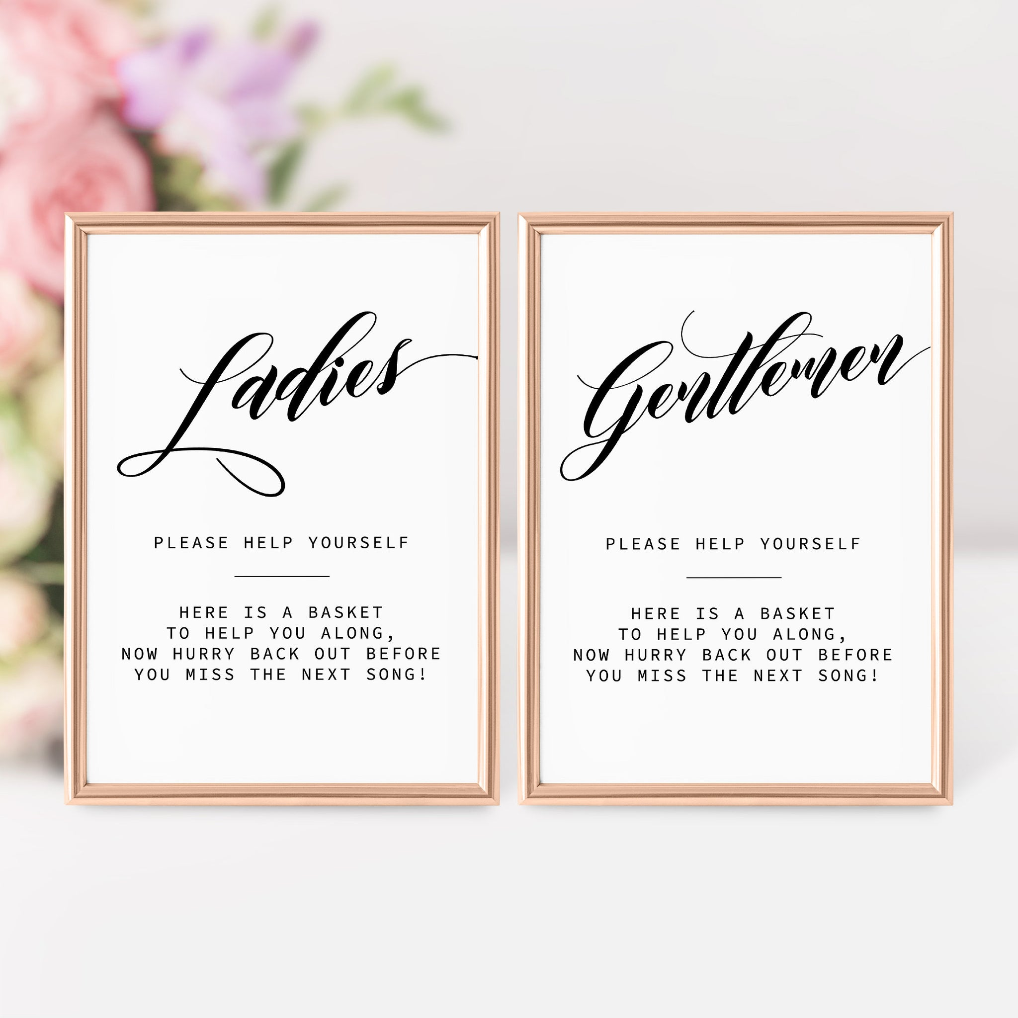 Wedding Bathroom Basket Sign, Ladies Bathroom Sign Wedding, Gentlemen Bathroom Sign at Wedding, Bathroom Wedding Sign Printable - SFB100 - @PlumPolkaDot