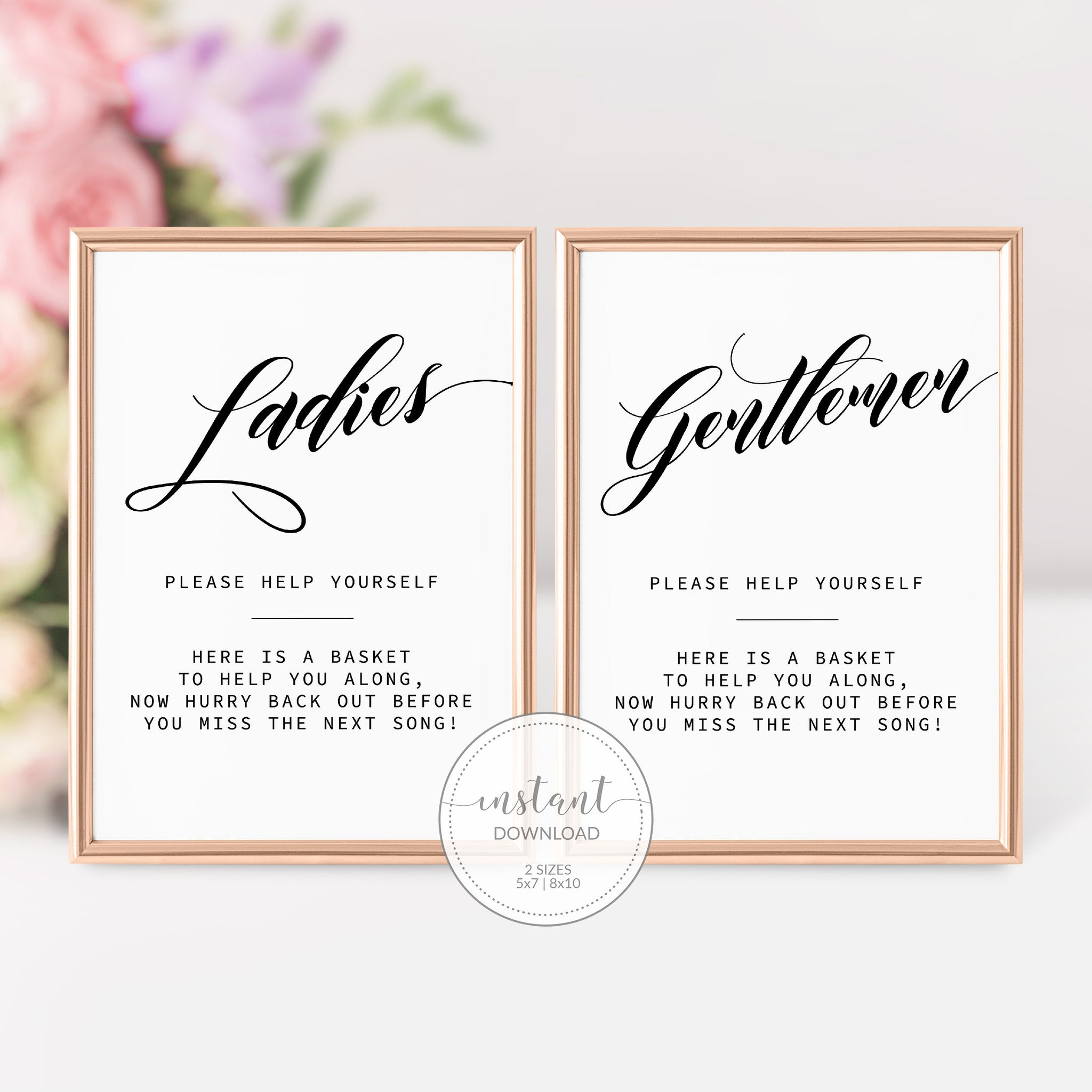 Wedding Bathroom Basket Sign, Ladies Bathroom Sign Wedding, Gentlemen Bathroom Sign at Wedding, Bathroom Wedding Sign Printable - SFB100