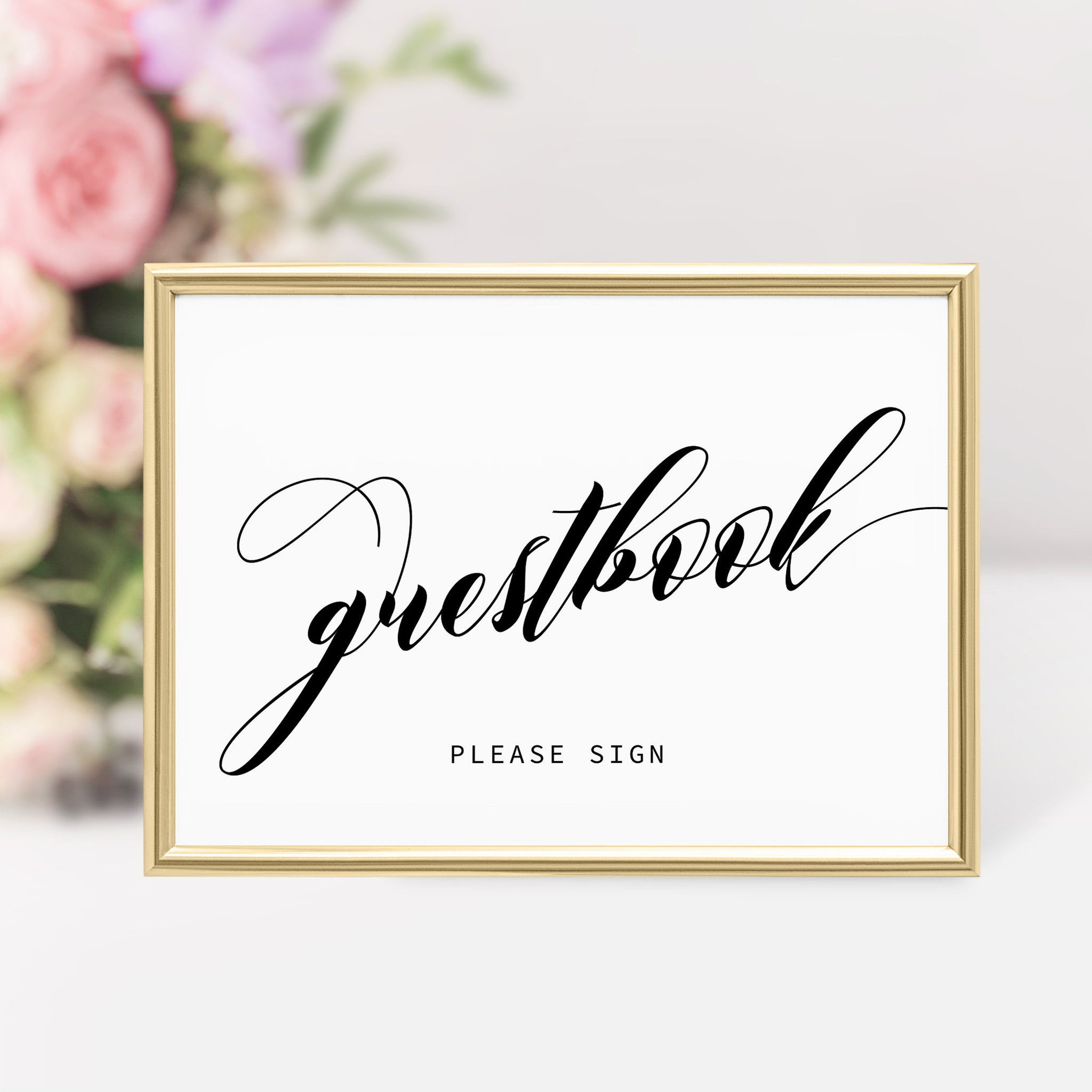 Guestbook Sign Wedding, Minimalist Wedding Guestbook Sign, Bridal Shower Decor, Guestbook Sign Printable, INSTANT DOWNLOAD - SFB100 - @PlumPolkaDot