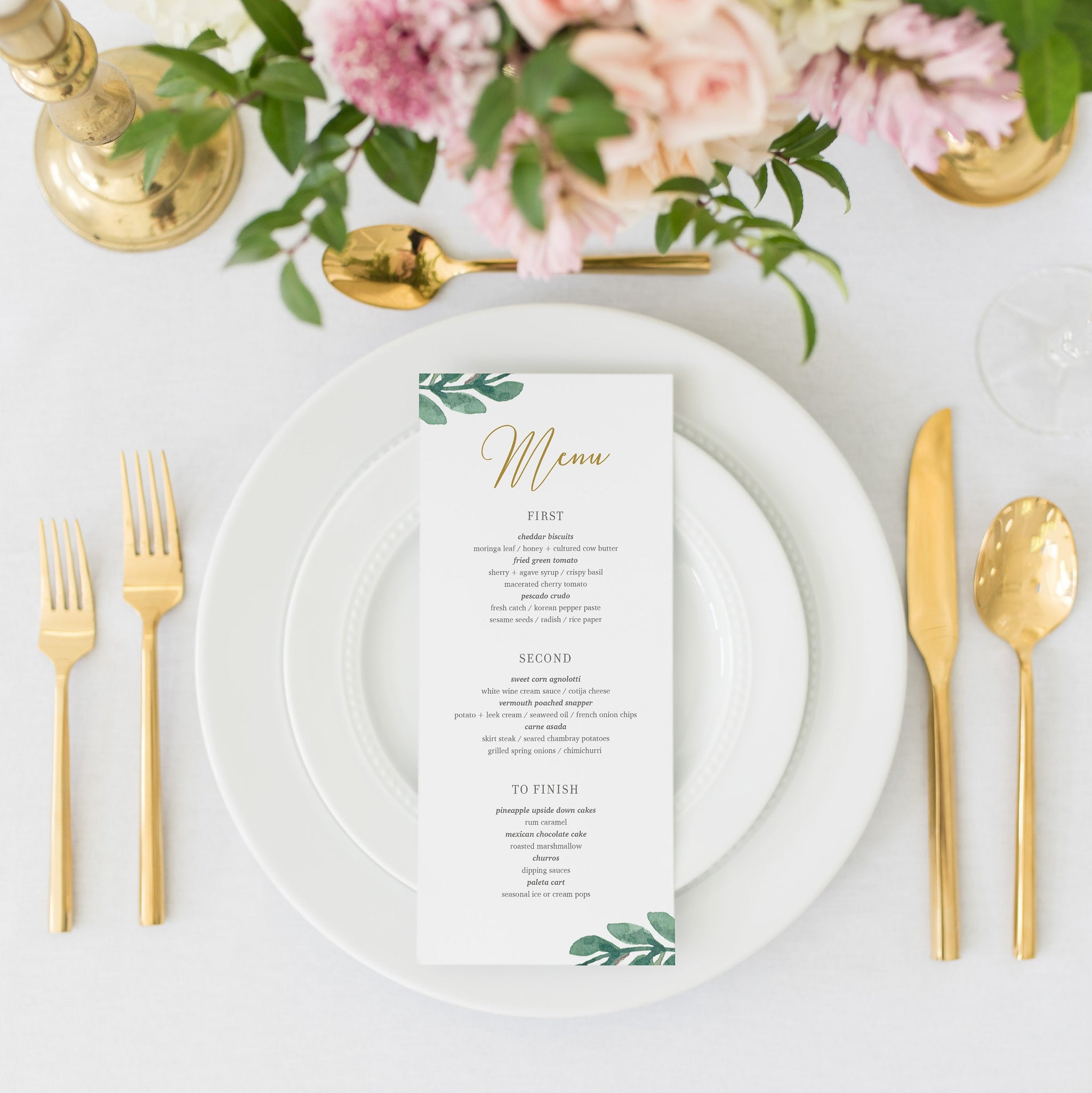 Greenery Wedding Menu Template, Greenery Menu Editable Download, Editable Menu Cards, Printable Menu, 4x9 & 5x7 - GFG100