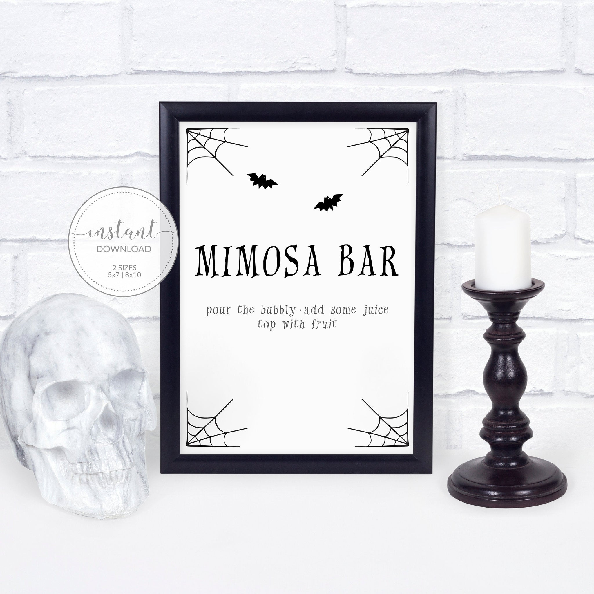 Halloween Party Mimosa Bar Sign, Halloween Brunch Sign, Halloween Party Decor for Adults - INSTANT DOWNLOAD - EDS100 - @PlumPolkaDot