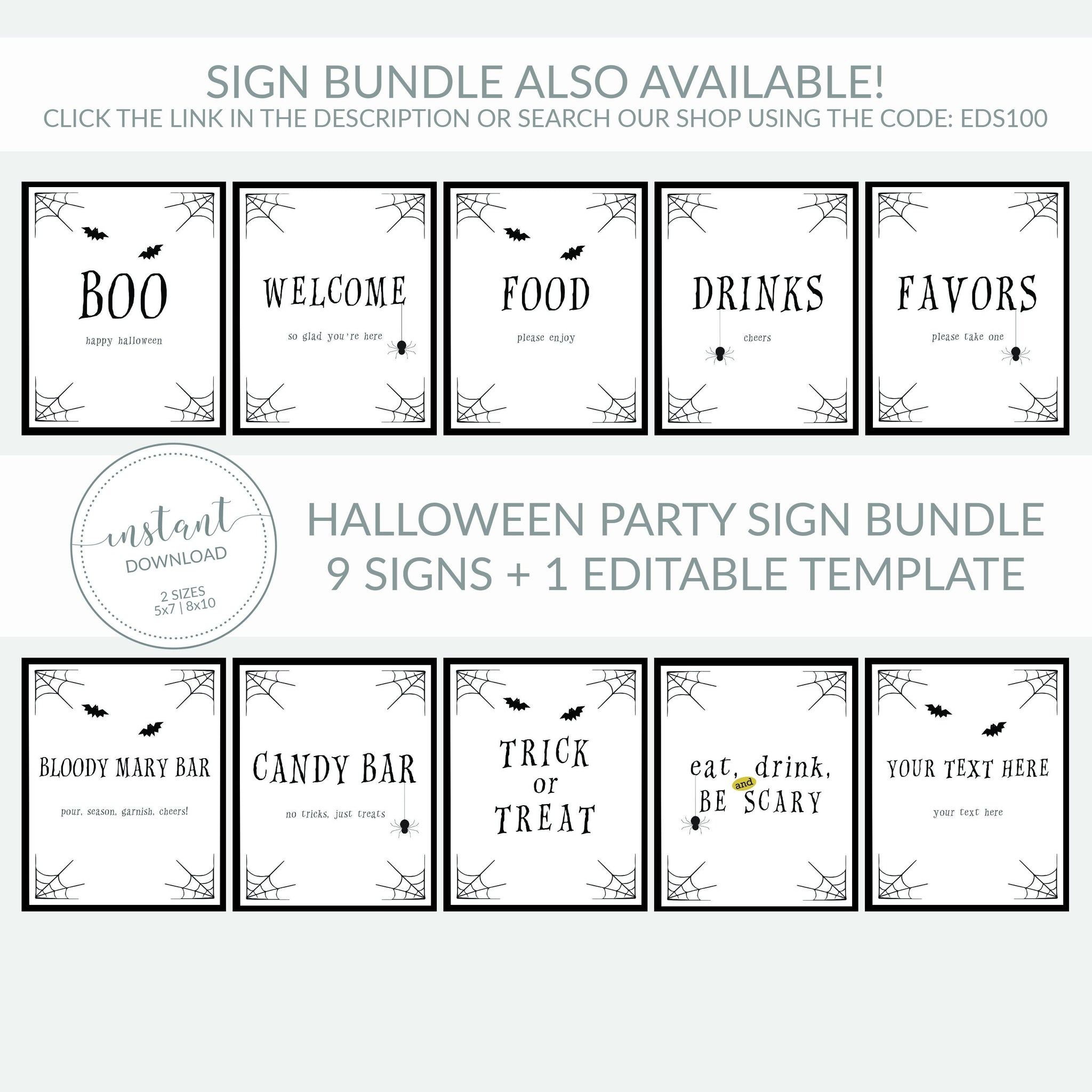 Eat Drink and Be Scary Sign Printable, Halloween Decor Spider, Halloween Decorations INSTANT DOWNLOAD, Halloween Party Decor - EDS100