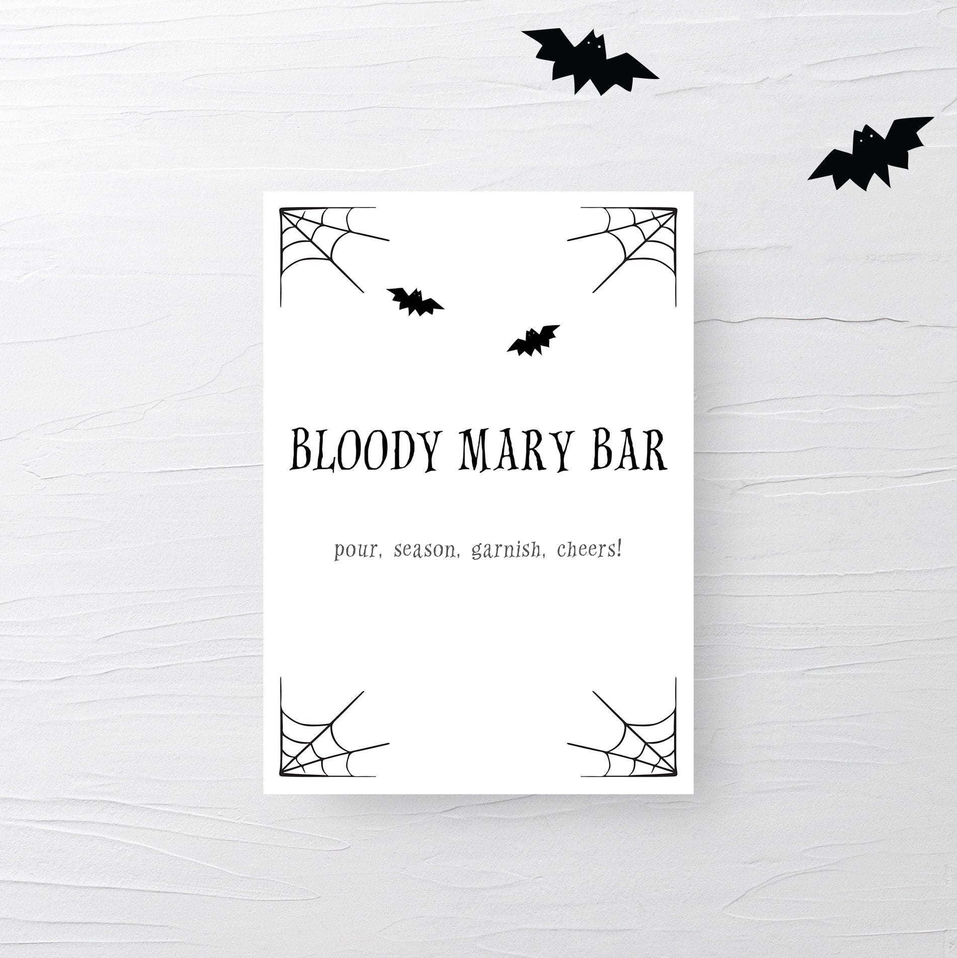 Halloween Party Bloody Mary Bar Sign, Halloween Brunch Sign, Halloween Party Decor for Adults - INSTANT DOWNLOAD - EDS100 - @PlumPolkaDot