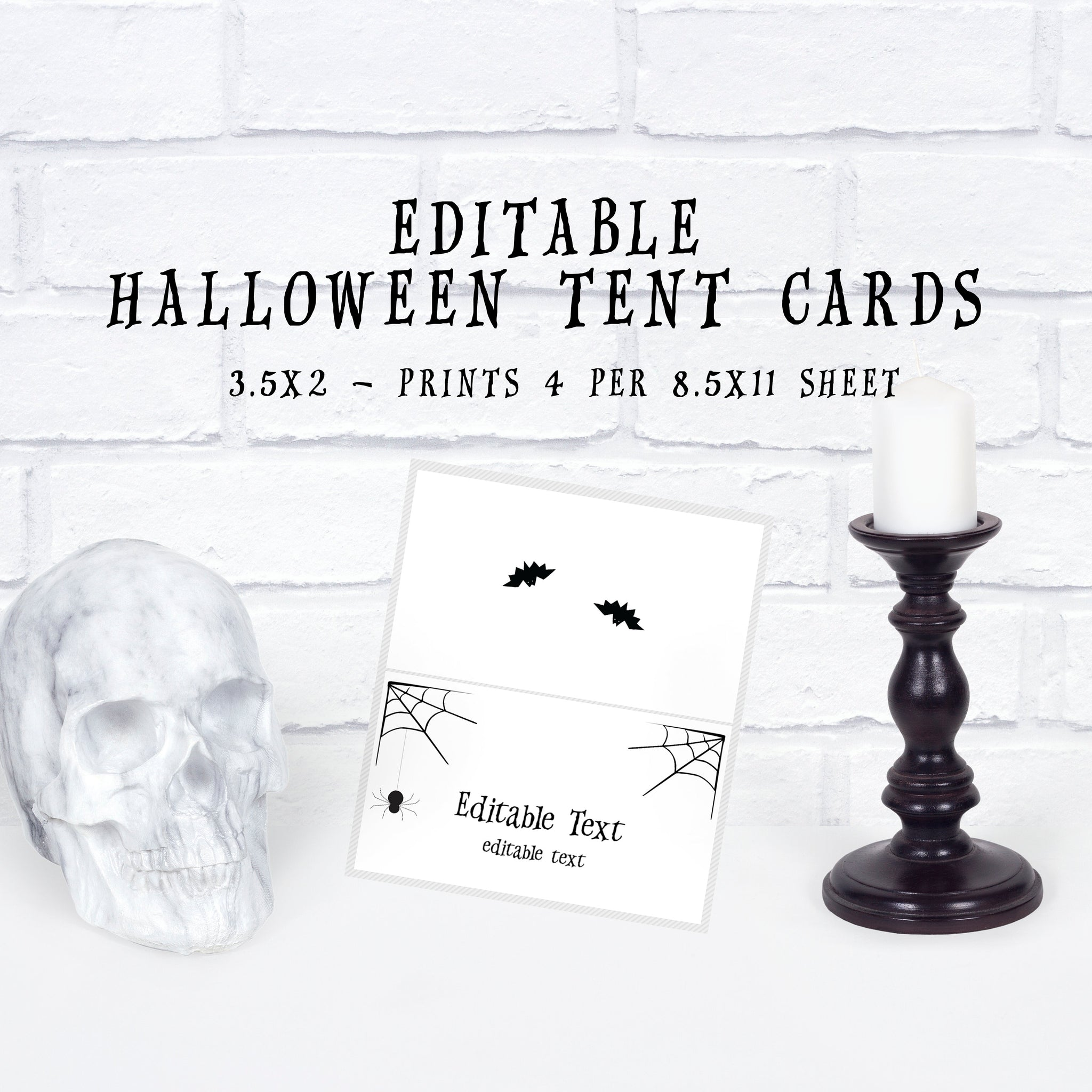 Halloween Party Food Labels Template, Halloween Tent Cards, Halloween Party Decorations Printable, EDITABLE DIGITAL DOWNLOAD - EDS100 - @PlumPolkaDot