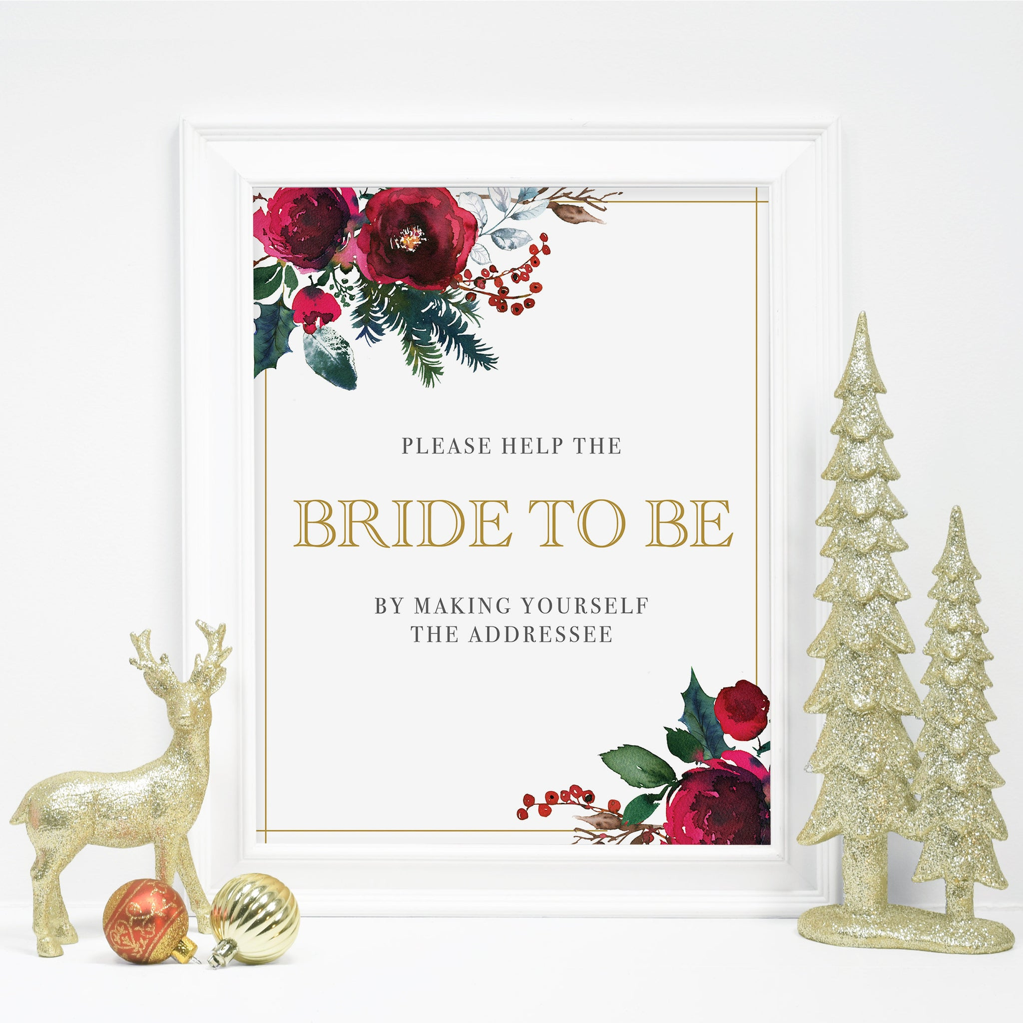 Christmas Bridal Shower Addressee Sign Printable, Address an Envelope Sign, Winter Bridal Shower Decorations, INSTANT DOWNLOAD - CG100 - @PlumPolkaDot