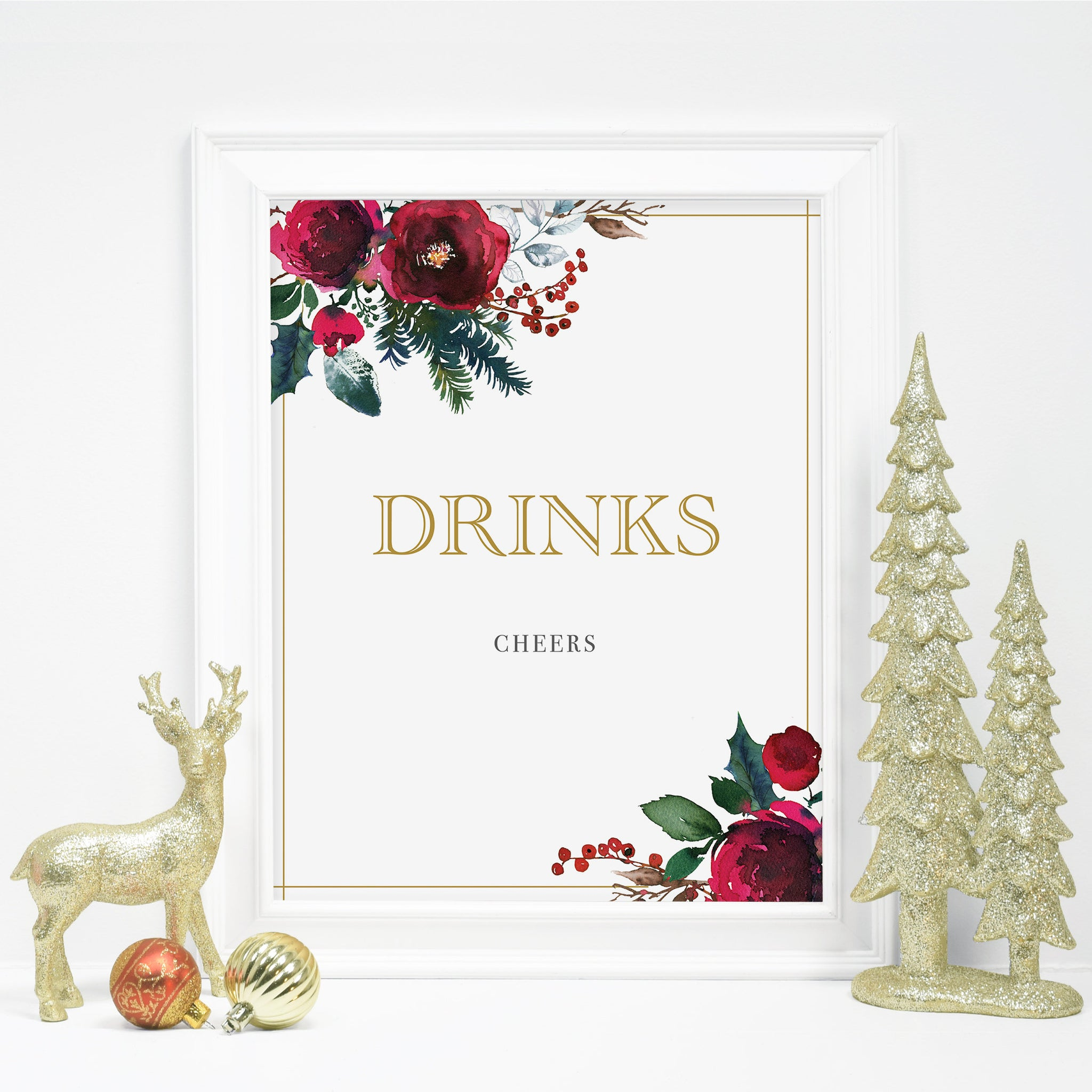 Christmas Party Drinks Sign Printable, Christmas Bridal Shower Sign, Holiday Party Printable Decorations, INSTANT DOWNLOAD - CG100 - @PlumPolkaDot