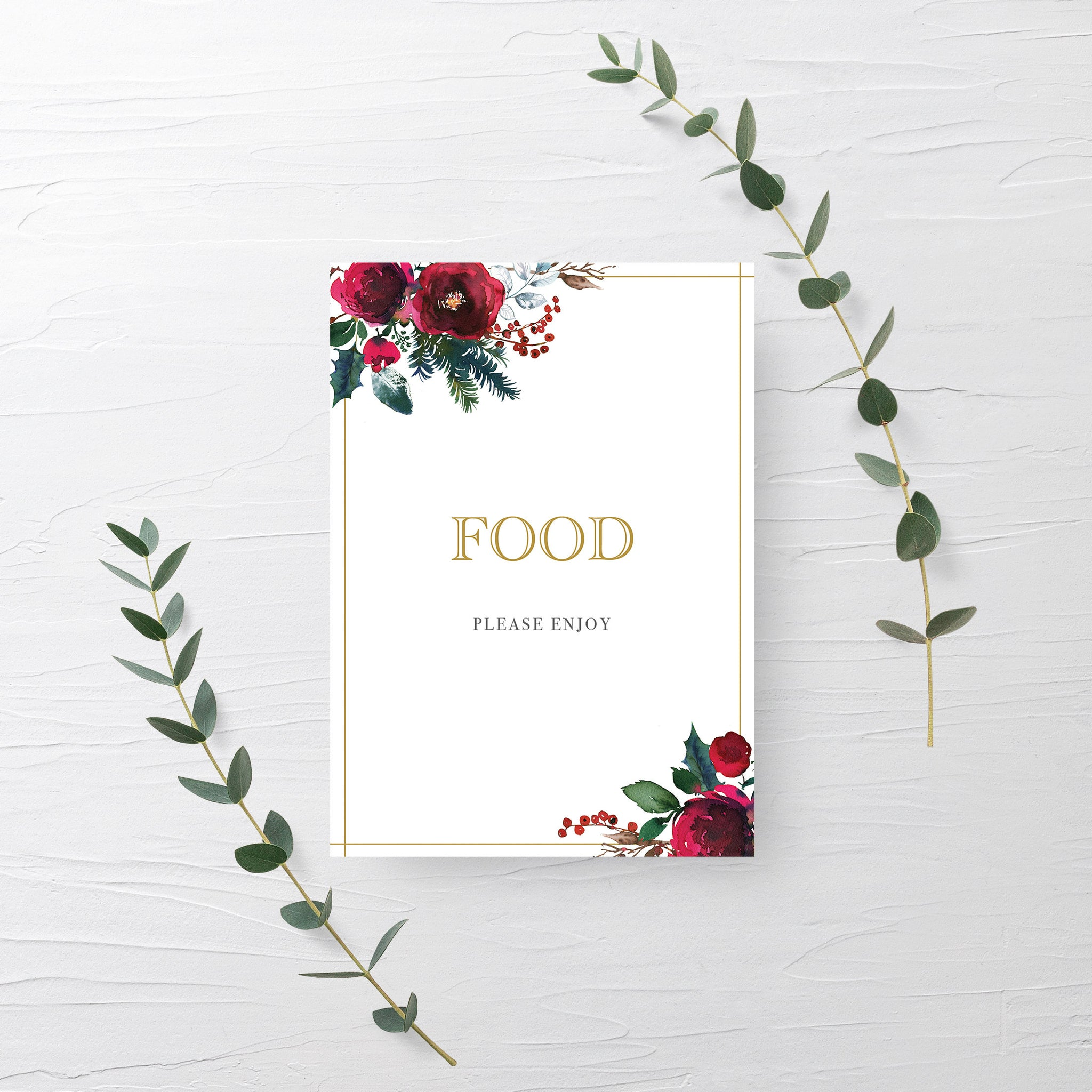 Christmas Party Food Sign Printable, Christmas Bridal Shower Sign, Holiday Party Printable Decorations, INSTANT DOWNLOAD - CG100