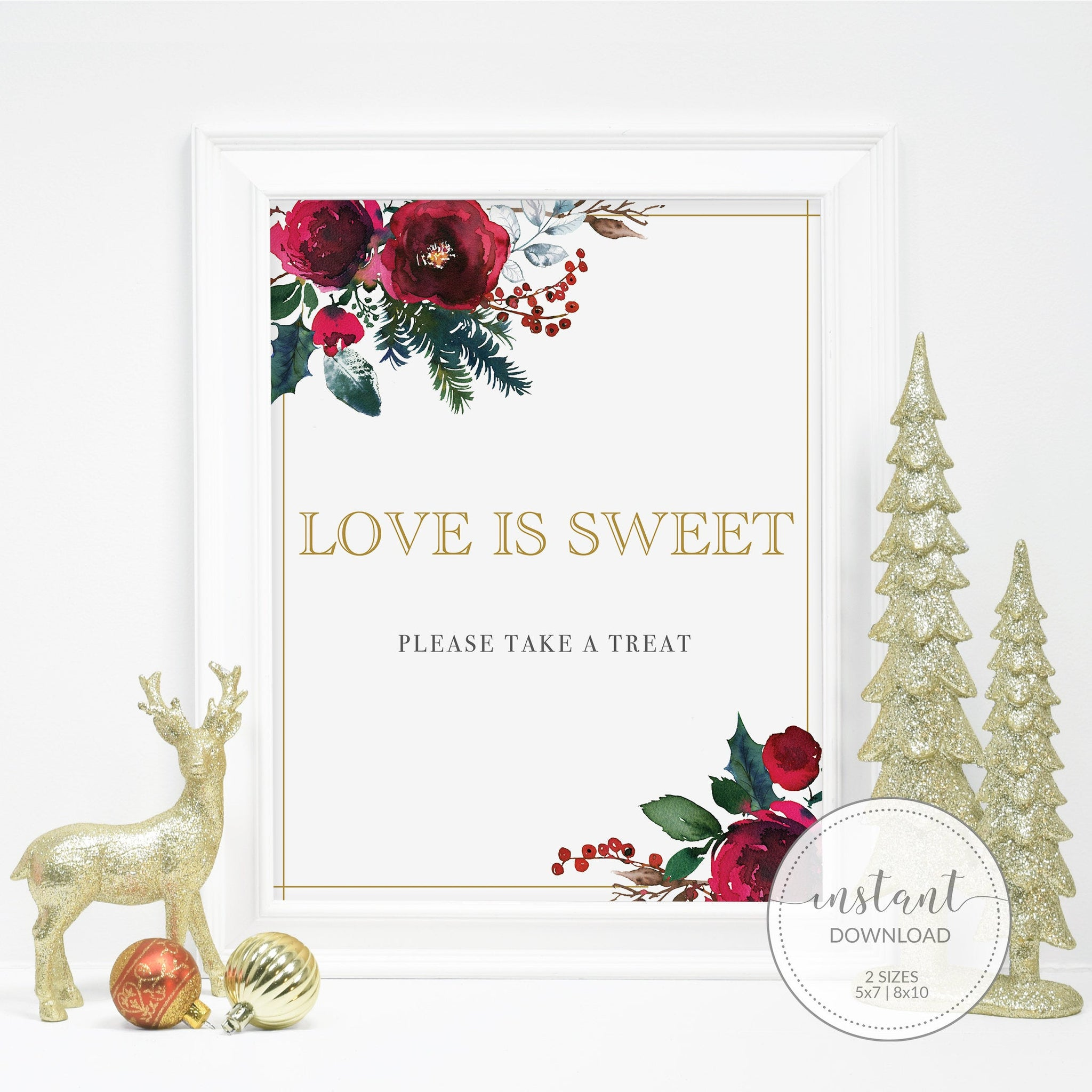Christmas Bridal Shower Treat Sign Printable, Love is Sweet Dessert Table Sign, Winter Bridal Shower Decorations, INSTANT DOWNLOAD - CG100 - @PlumPolkaDot