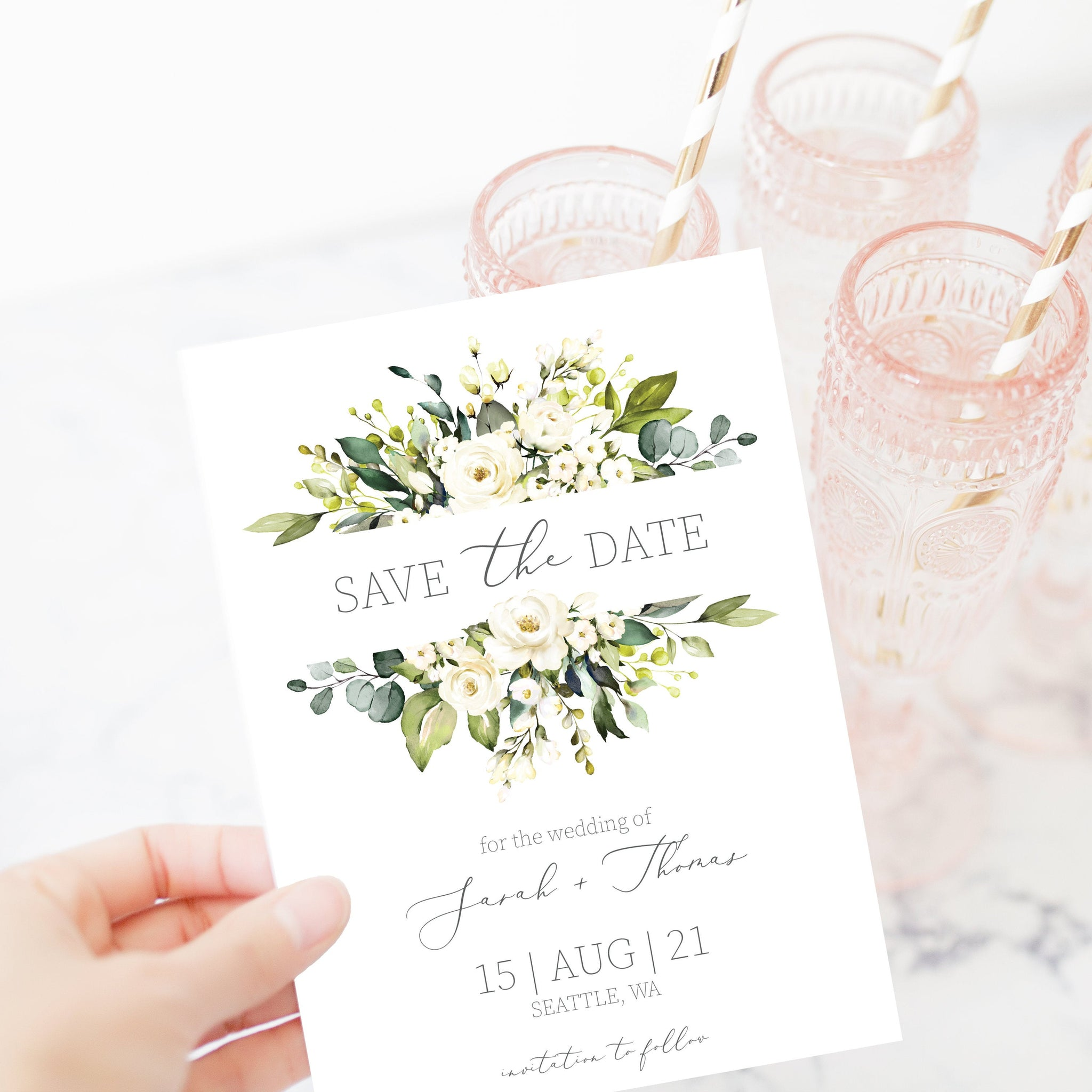Greenery Save The Date Card, Editable Wedding Engagement Announcement Ideas, White Floral Save The Date Template, 5x7 - WRG100 - @PlumPolkaDot