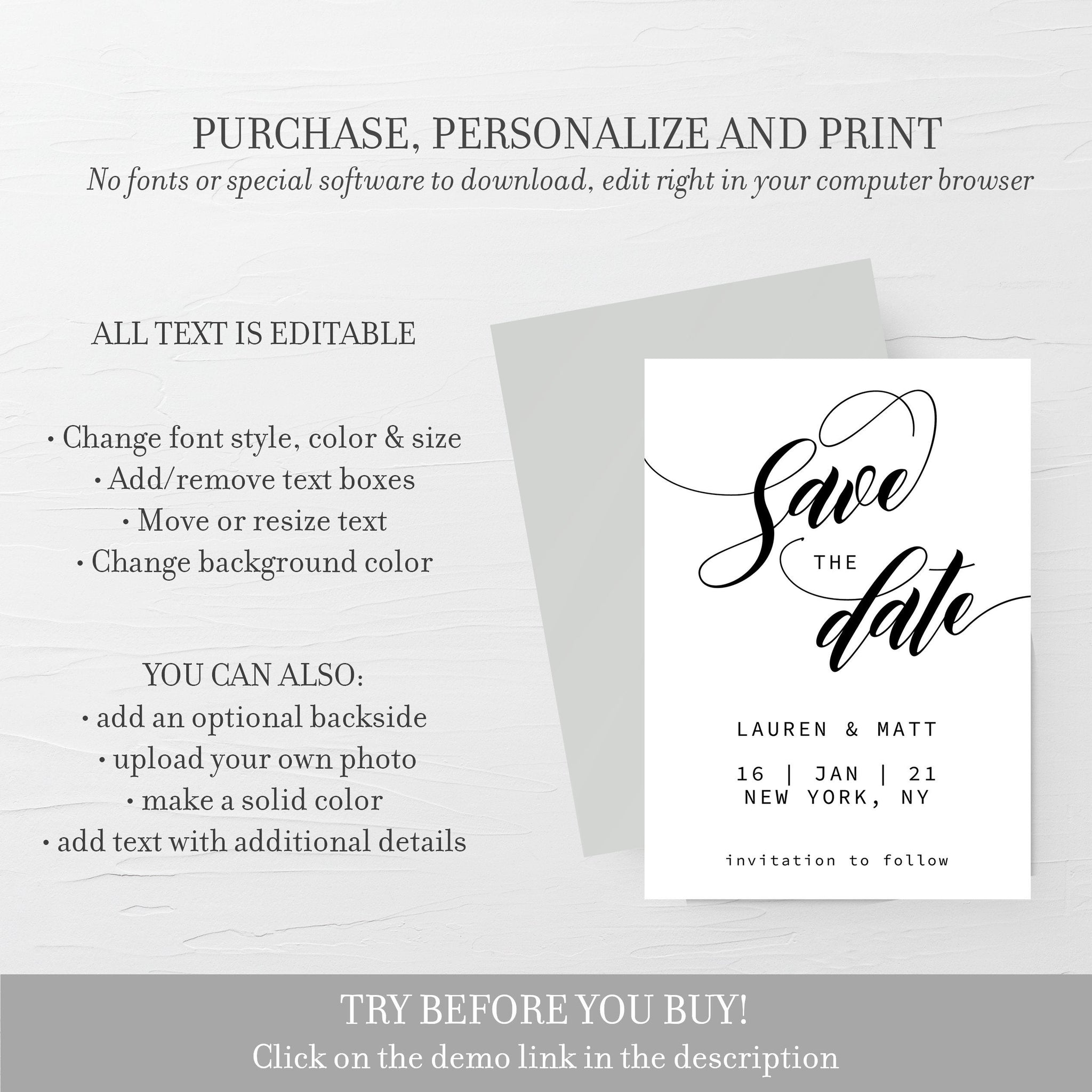 Black and White Save The Date Template, Editable Save The Date Card, Minimalist Save The Date, 5x7 - SFB100 - @PlumPolkaDot