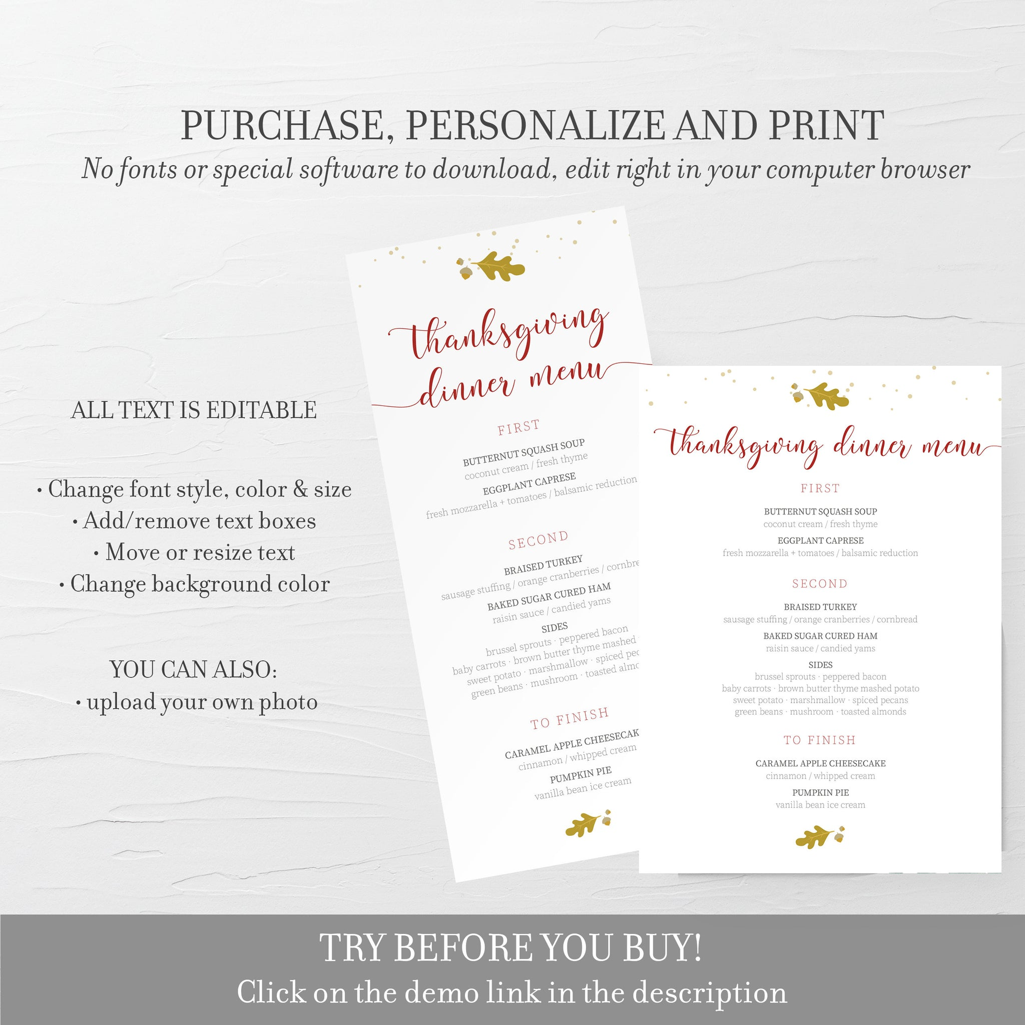 Thanksgiving Menu Template, Thanksgiving Table Decor, Thanksgiving Dinner Menu Printable, Editable DIGITAL DOWNLOAD - FL100 - @PlumPolkaDot