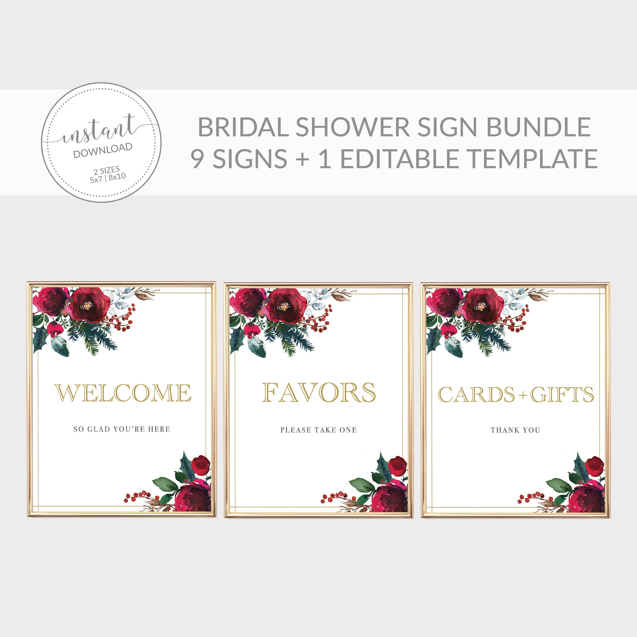 Christmas Bridal Shower Sign Bundle, Christmas Bridal Shower Decorations, Holiday Bridal Shower Table Signs, DIGITAL DOWNLOAD CG100