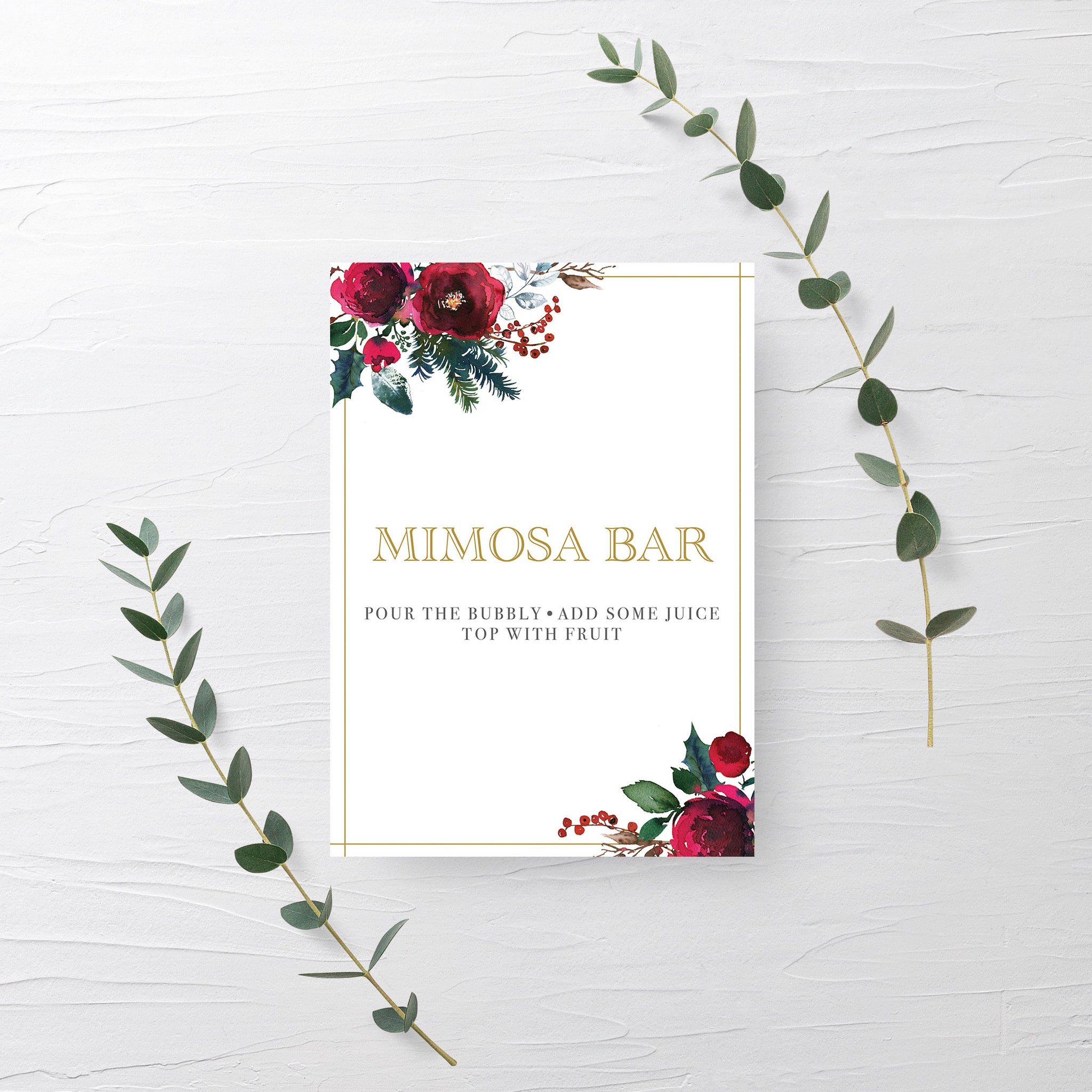 Christmas Party Mimosa Bar Sign, Christmas Brunch Decorations, Christmas Bridal Shower Mimosa Bar Sign Printable, INSTANT DOWNLOAD - CG100 - @PlumPolkaDot