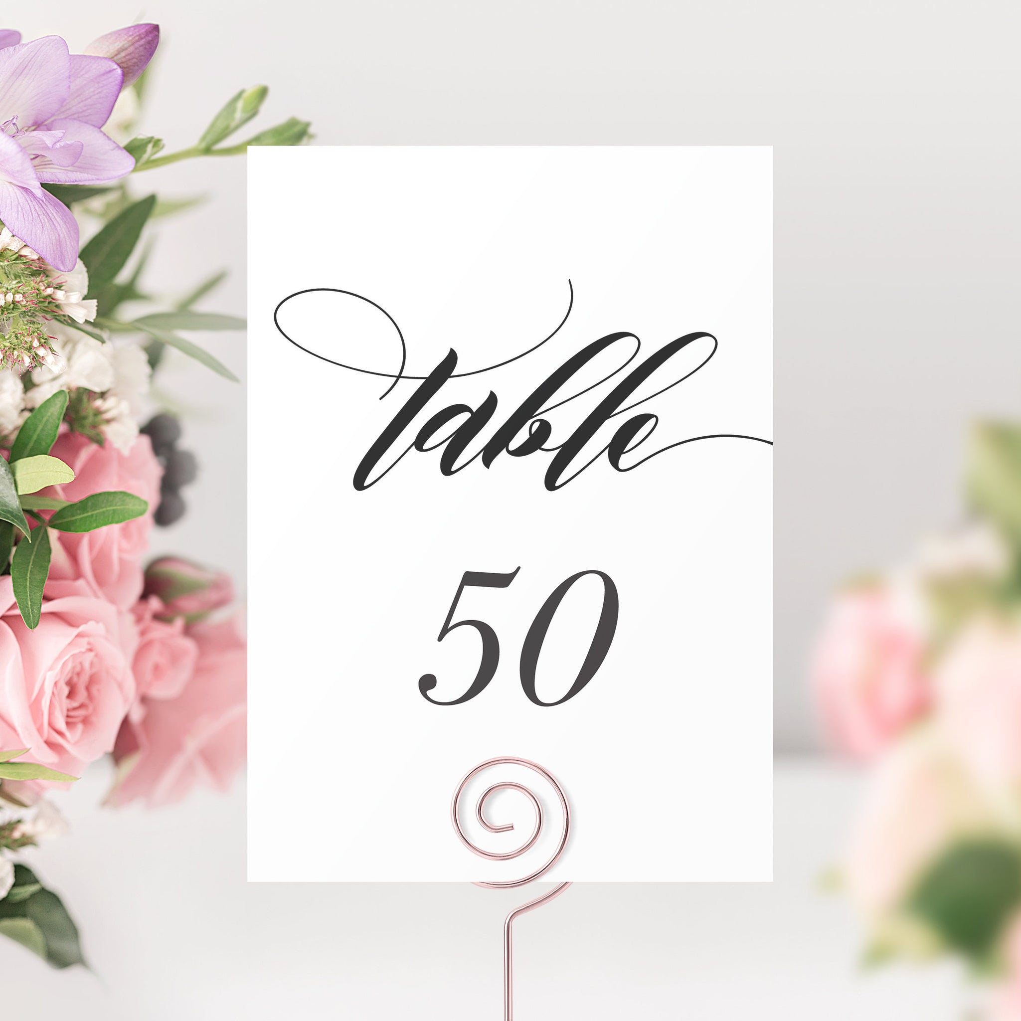 Wedding Table Numbers 1-50, Table Number Cards Wedding, Script Table Numbers, Table Numbers 4x6 and 5x7, Printable INSTANT DOWNLOAD - SFB100 - @PlumPolkaDot