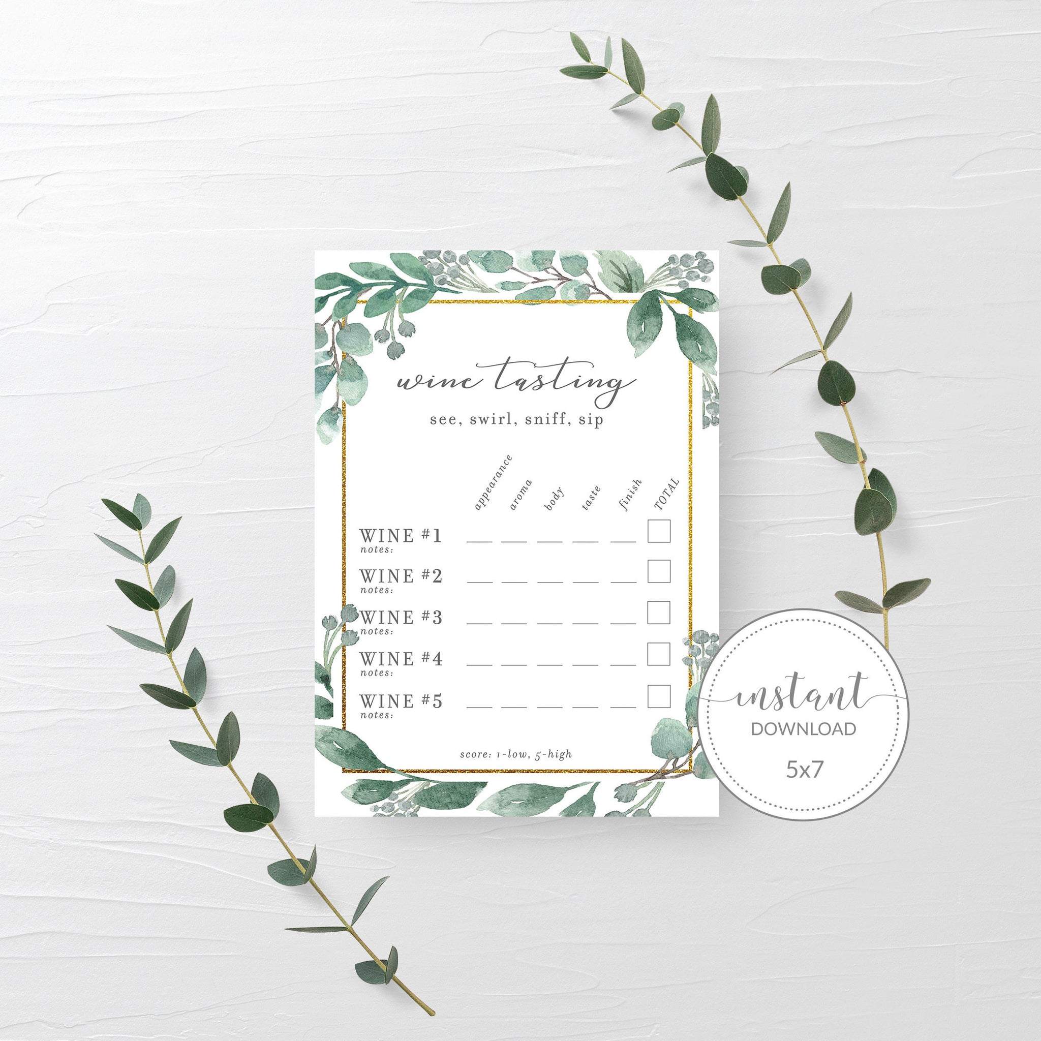 Wine Tasting Card, Wine Theme Bridal Shower, Wine Bachelorette Party Supplies, Geometric Greenery Printables, INSTANT DOWNLOAD - GFG100 - @PlumPolkaDot