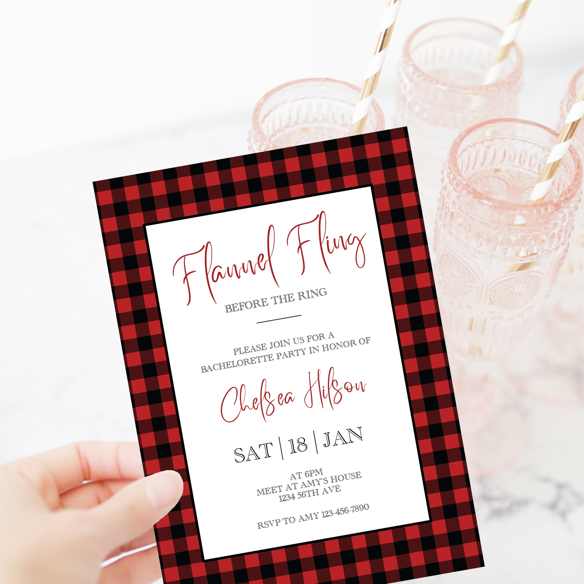 Flannel Fling Before The Ring Invitation Template, Flannel Bachelorette Party Invite, Buffalo Plaid, Editable DIGITAL DOWNLOAD - BP100 - @PlumPolkaDot