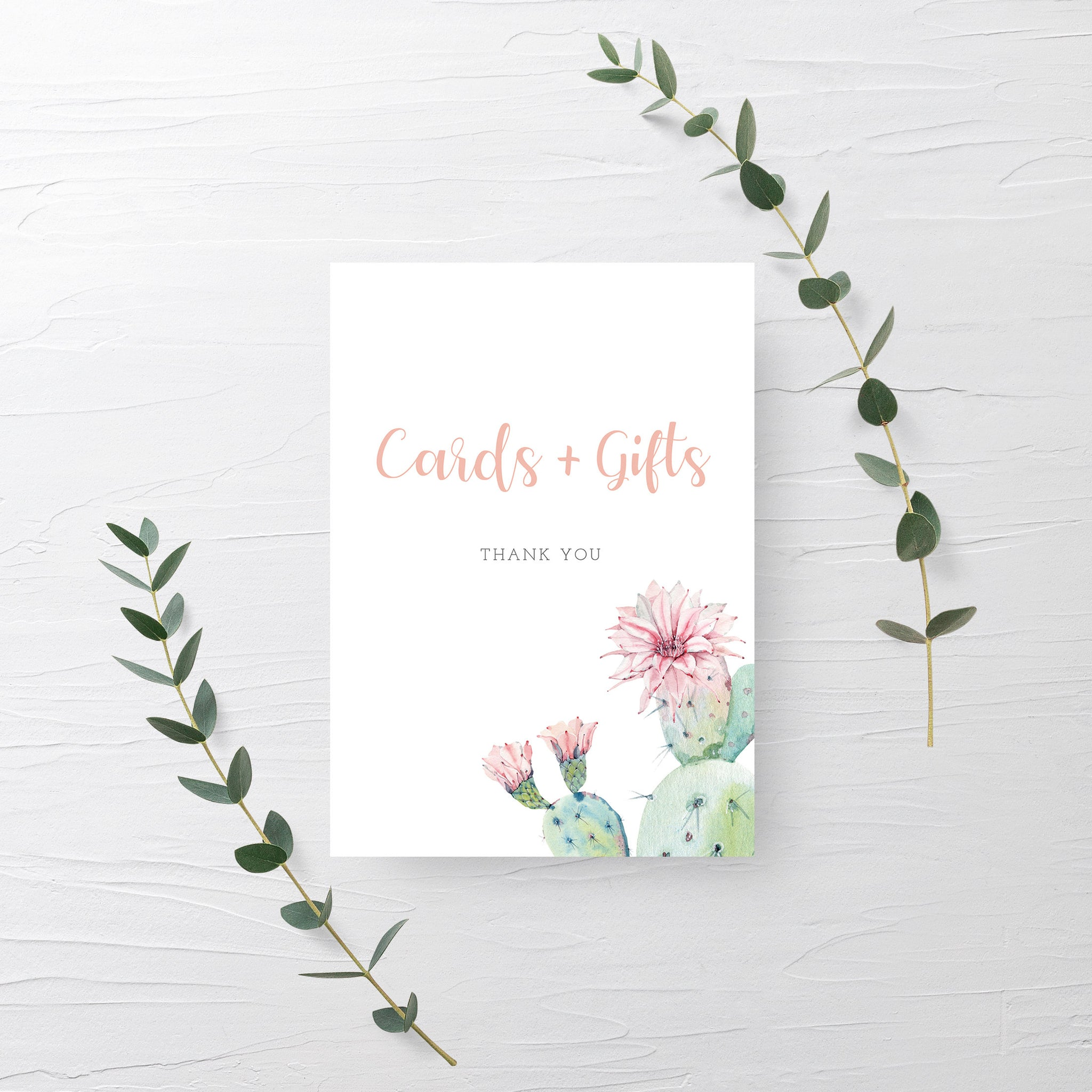 Cactus Cards and Gifts Sign Printable, Succulent Bridal Shower Gift Table Sign, Succulent Baby Shower Table Signs, DIGITAL DOWNLOAD - CS100 - @PlumPolkaDot