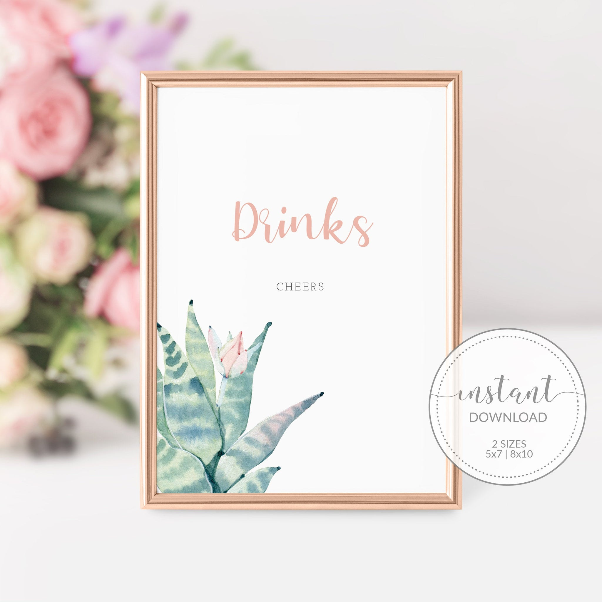 Succulent Drinks Sign Printable, Succulent Bridal Shower Sign, Succulent Baby Shower Table Signs, DIGITAL DOWNLOAD - CS100 - @PlumPolkaDot