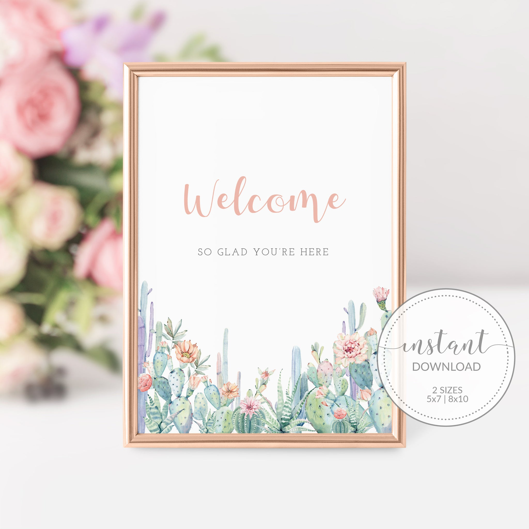 Succulent Welcome Sign Printable, Cactus Bridal Shower Welcome Sign, Cactus Baby Shower Welcome Sign, DIGITAL DOWNLOAD - CS100